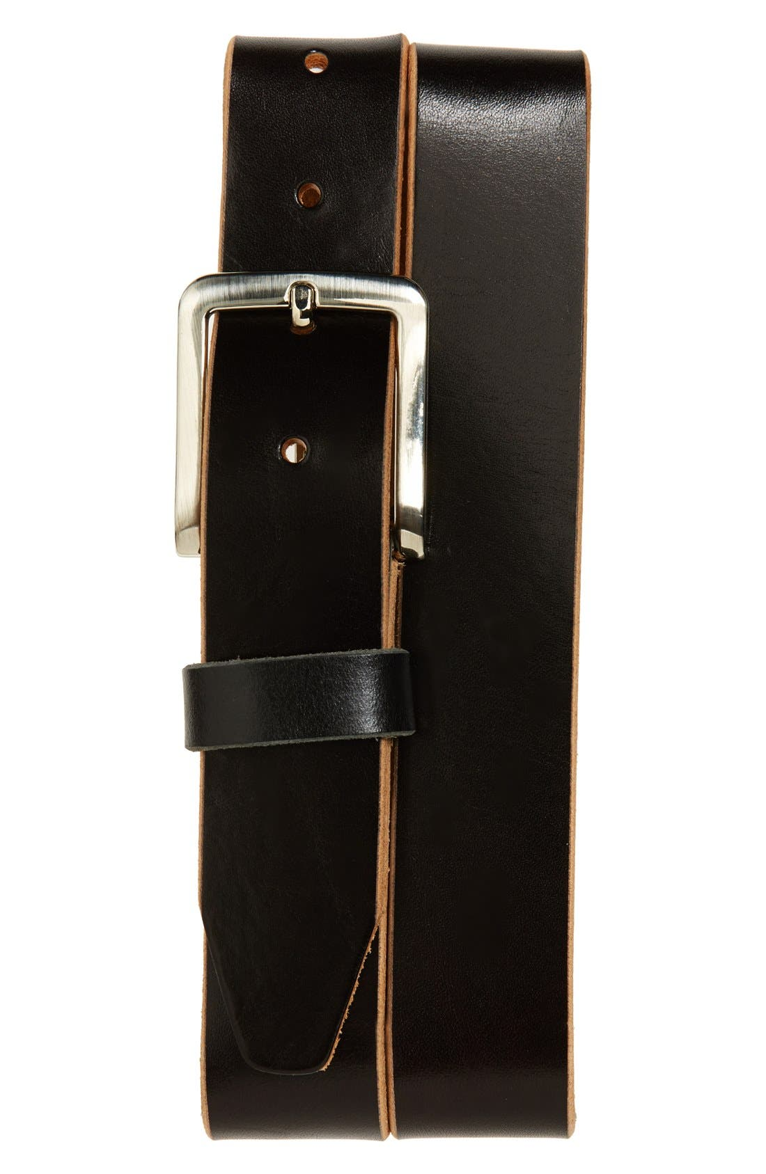 'Oscar' Leather Belt,                             Main thumbnail 1, color,                             BLACK