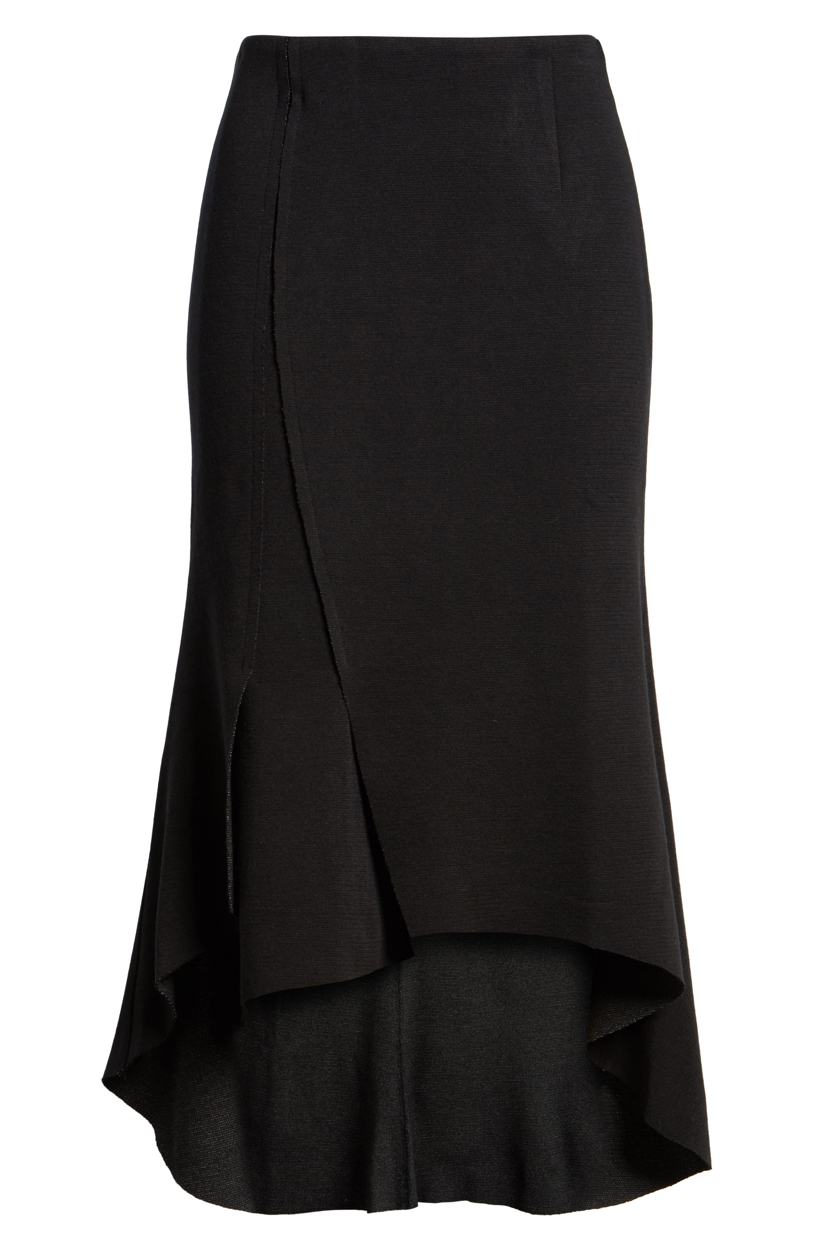 Ruffle High/Low Skirt,                             Alternate thumbnail 6, color,                             001