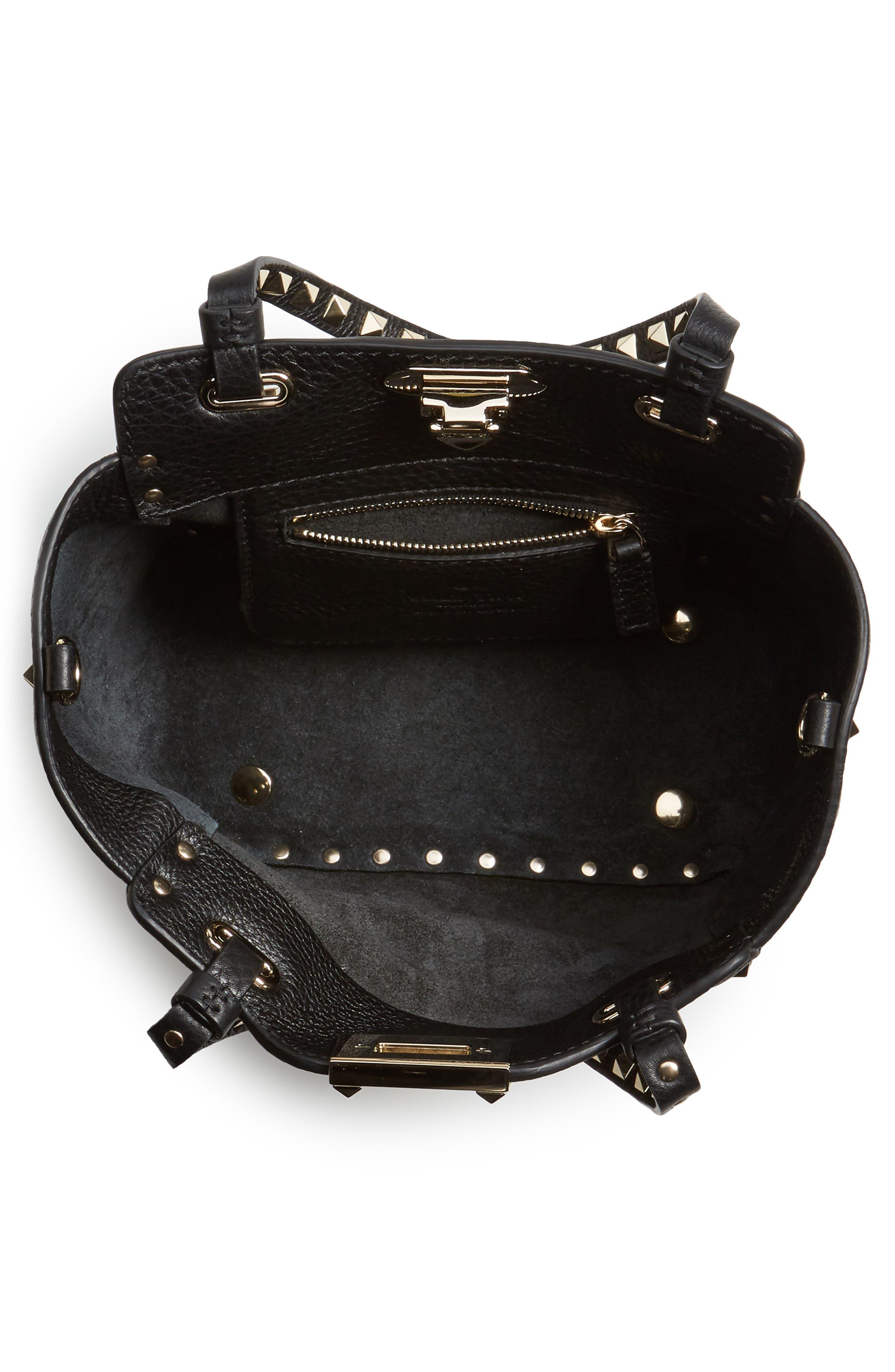 Rockstud - Mini Alce Leather Tote,                             Alternate thumbnail 4, color,                             001