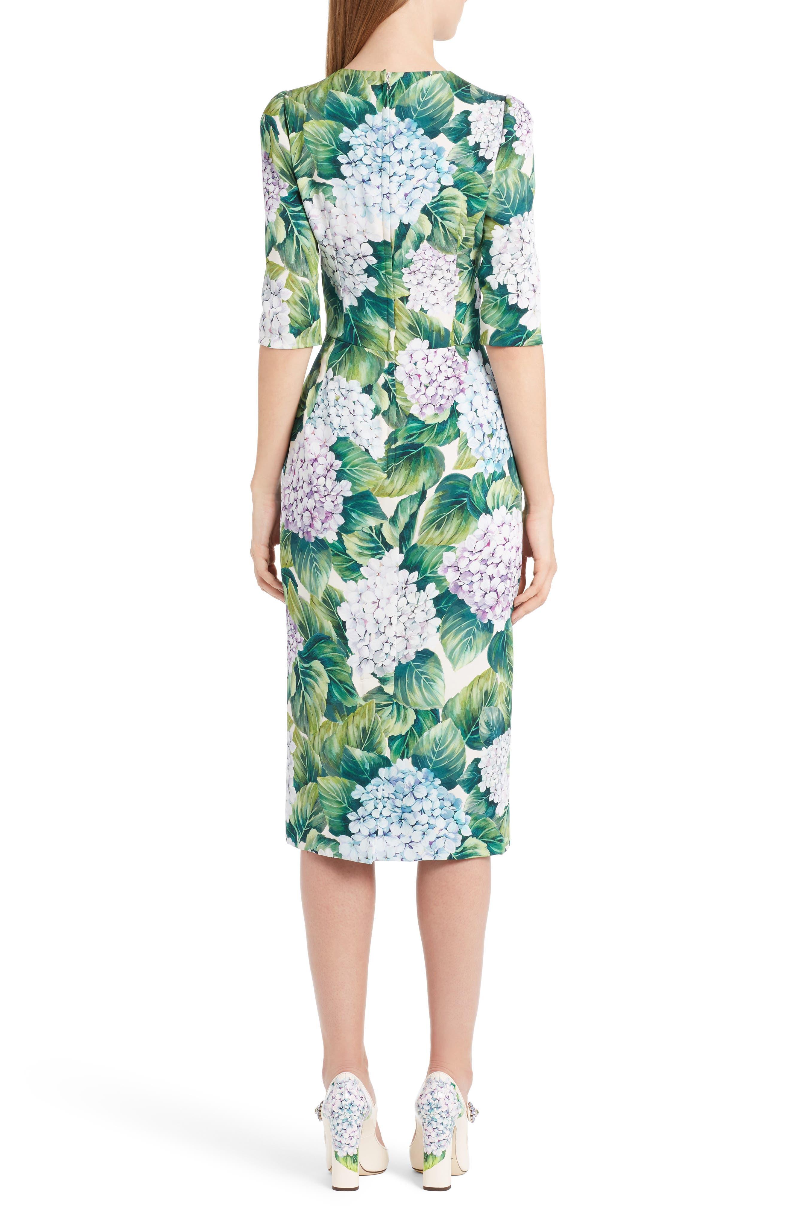 Hydrangea Print Stretch Silk Dress,                             Alternate thumbnail 2, color,                             300