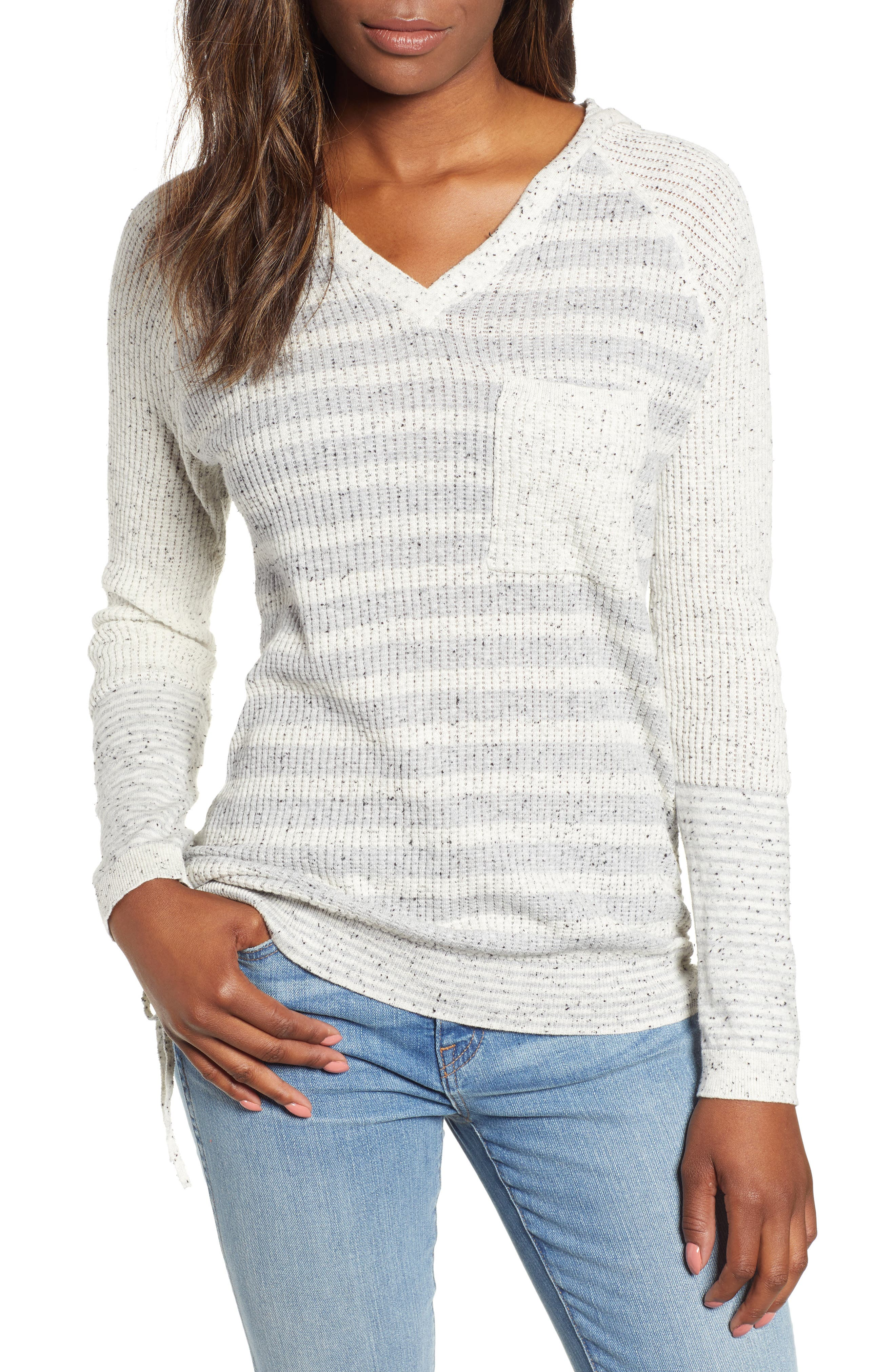 Waffle Knit Stripe Hooded Top,                             Main thumbnail 1, color,                             HEATHER GREY/ OFF WHITE