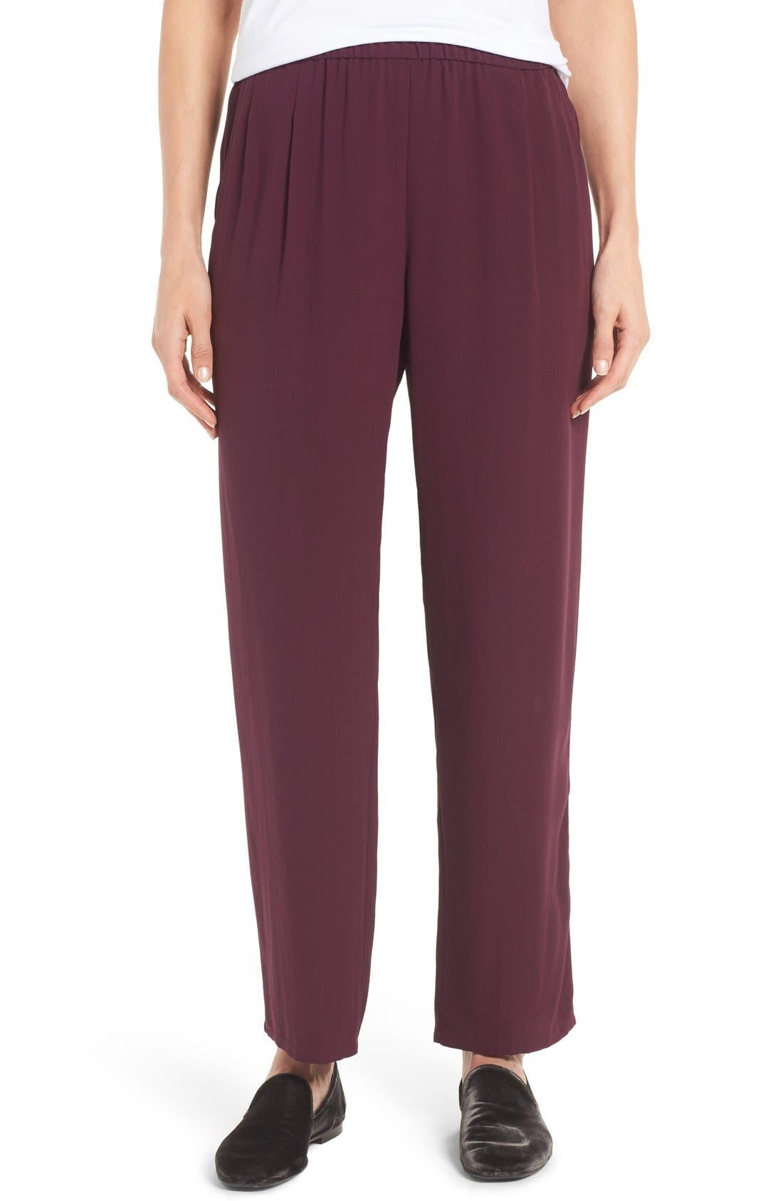 Silk Georgette Crepe Straight Ankle Pants,                             Main thumbnail 6, color,