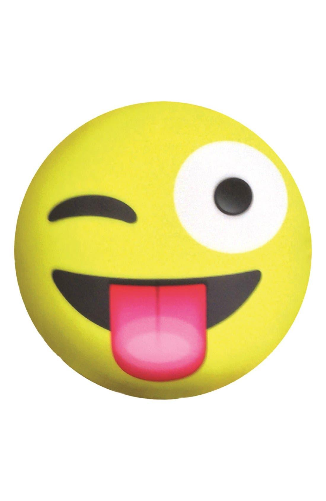 'Crazy Face' Emoji Pillow, Main, color, 700