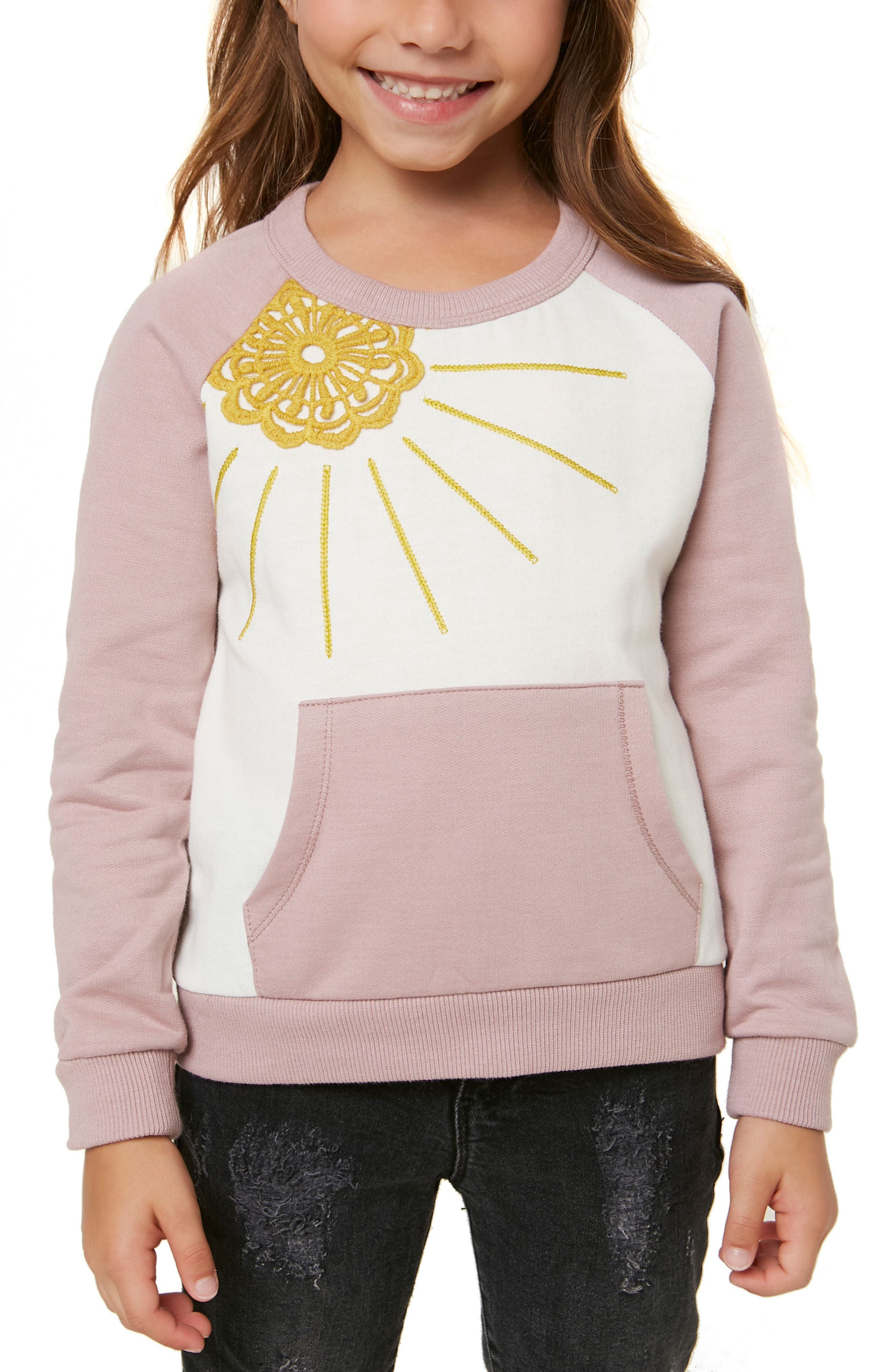 Sol Embroidered Sweatshirt,                         Main,                         color, DEAUVILLE MAUVE