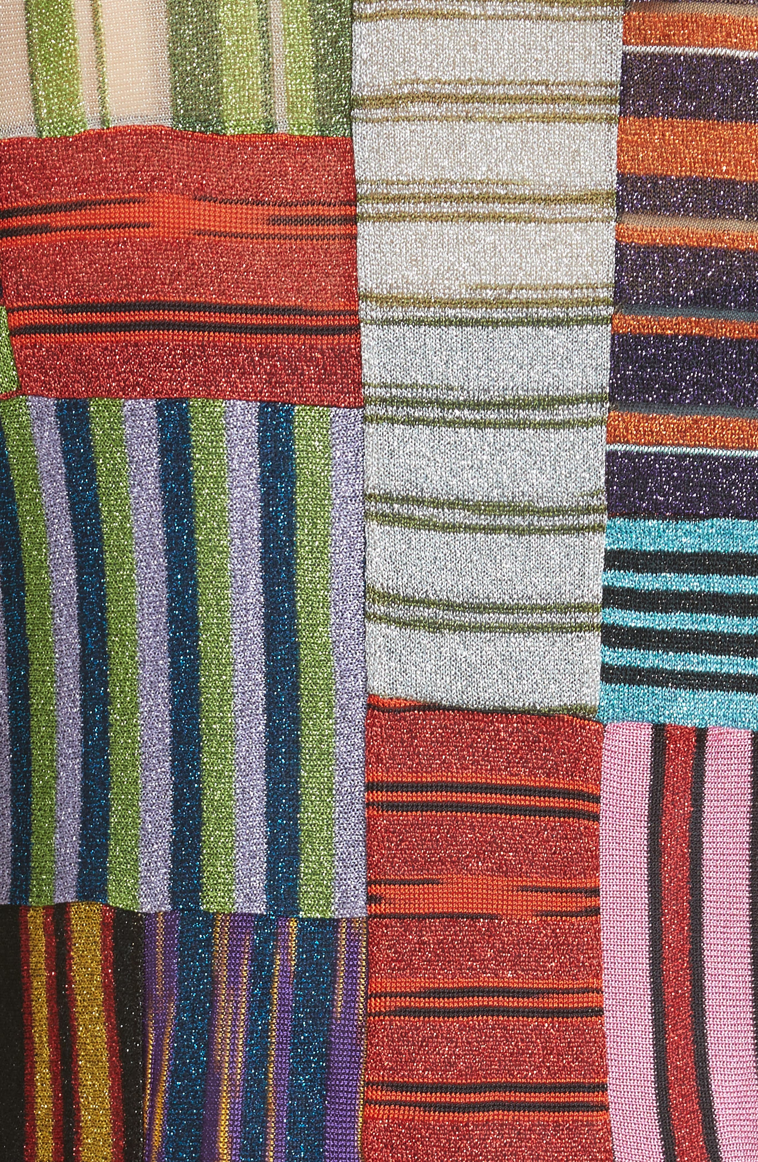 Metallic Patchwork Stripe Knit Maxi Dress,                             Alternate thumbnail 5, color,