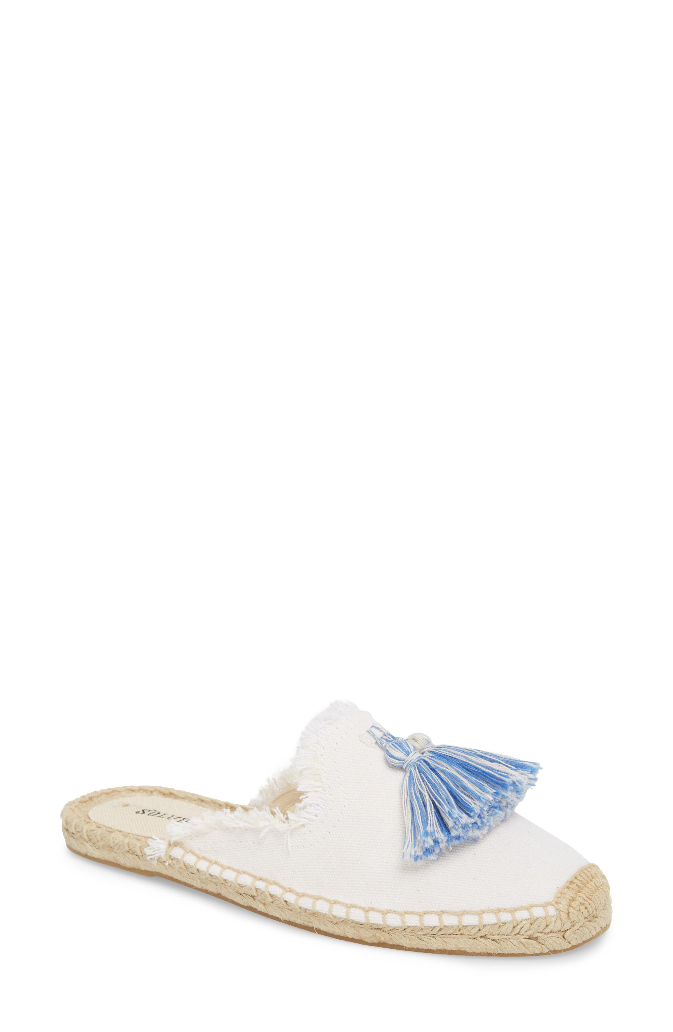Frayed Tassel Espadrille Loafer Mule,                             Main thumbnail 1, color,                             WHITE