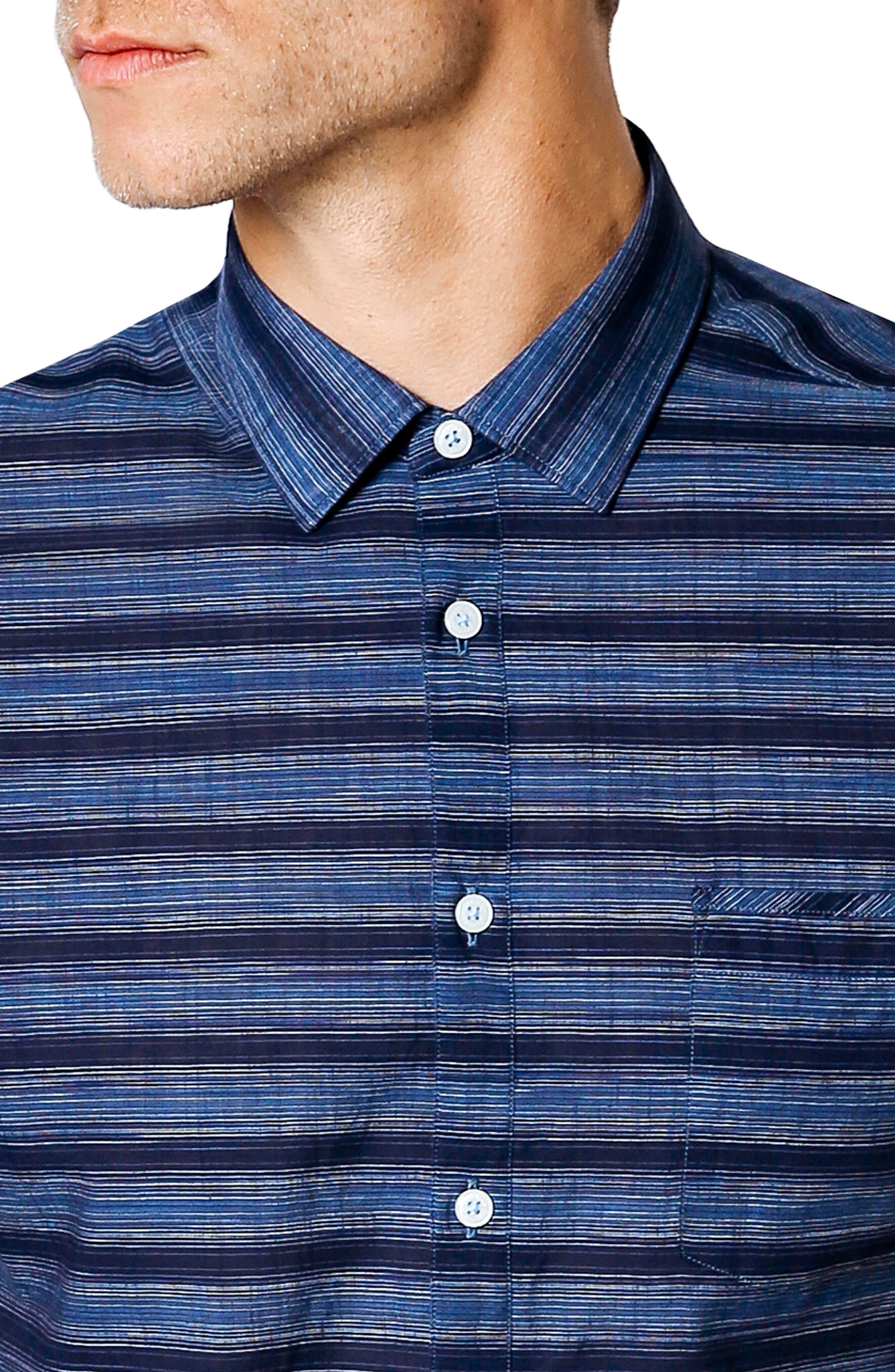 Slim Fit Short Sleeve Sport Shirt,                             Alternate thumbnail 4, color,                             NAVY