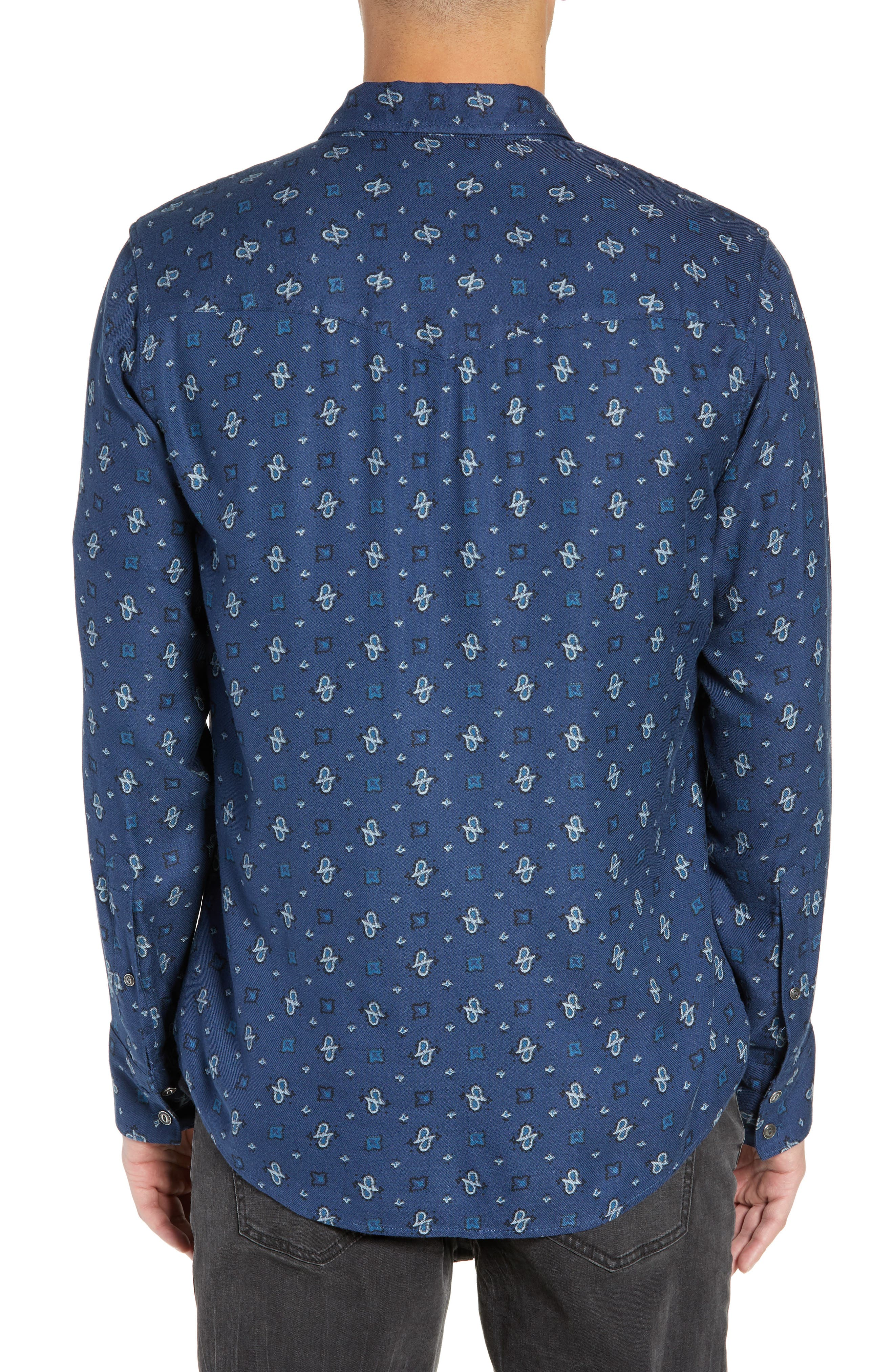 Regular Fit Paisley Western Shirt,                             Alternate thumbnail 3, color,                             BLUE CASPIA DESERT PAISLEY