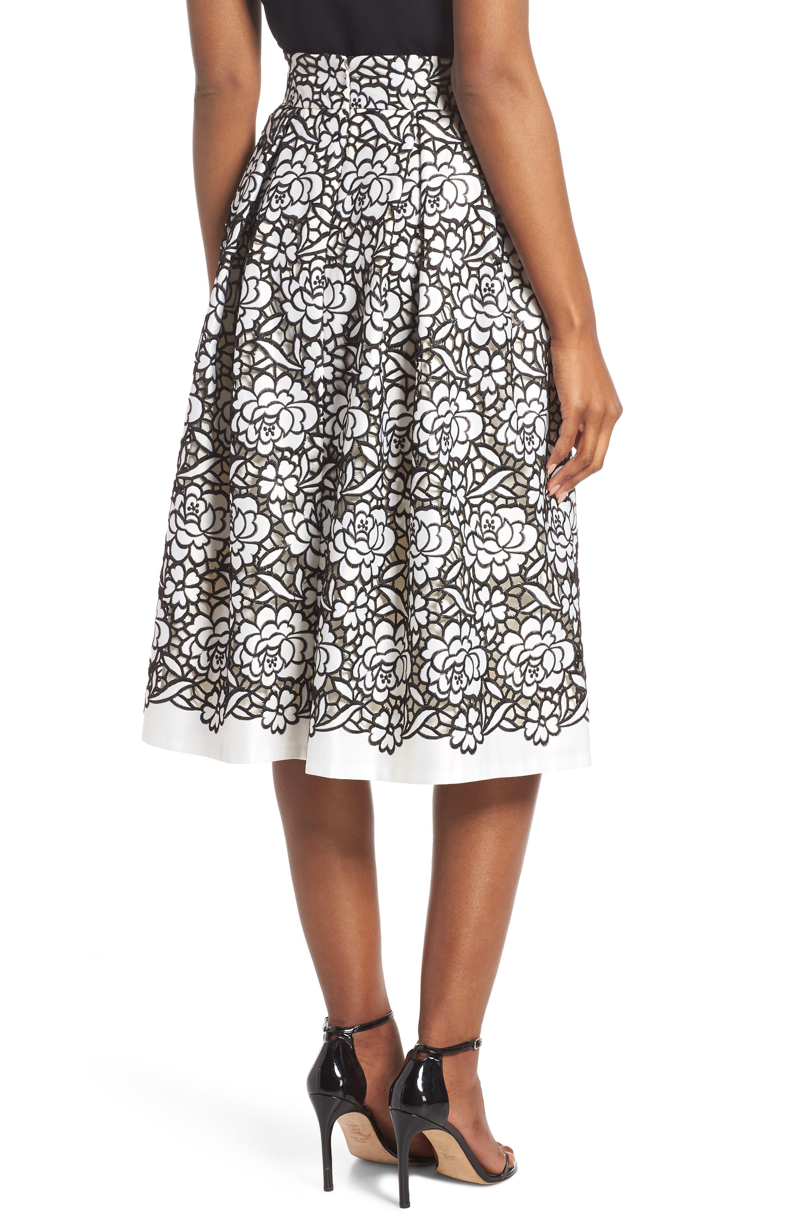 Pleated Floral Cutout Appliqué Skirt,                             Alternate thumbnail 2, color,                             BLACK/IVORY