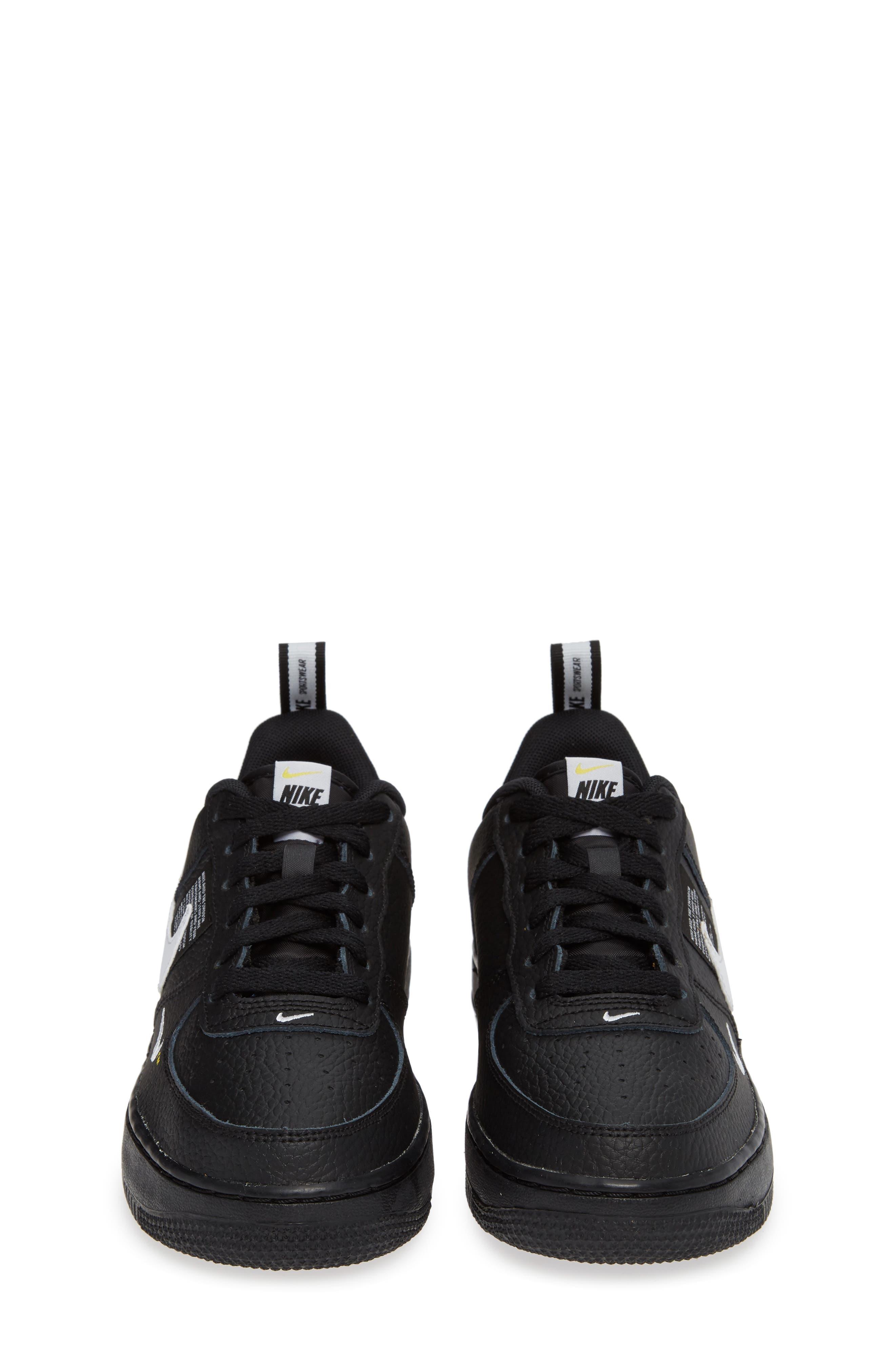 NIKE,                             Air Force 1 LV8 Sneaker,                             Alternate thumbnail 5, color,                             BLACK/ WHITE-BLACK-TOUR YELLOW