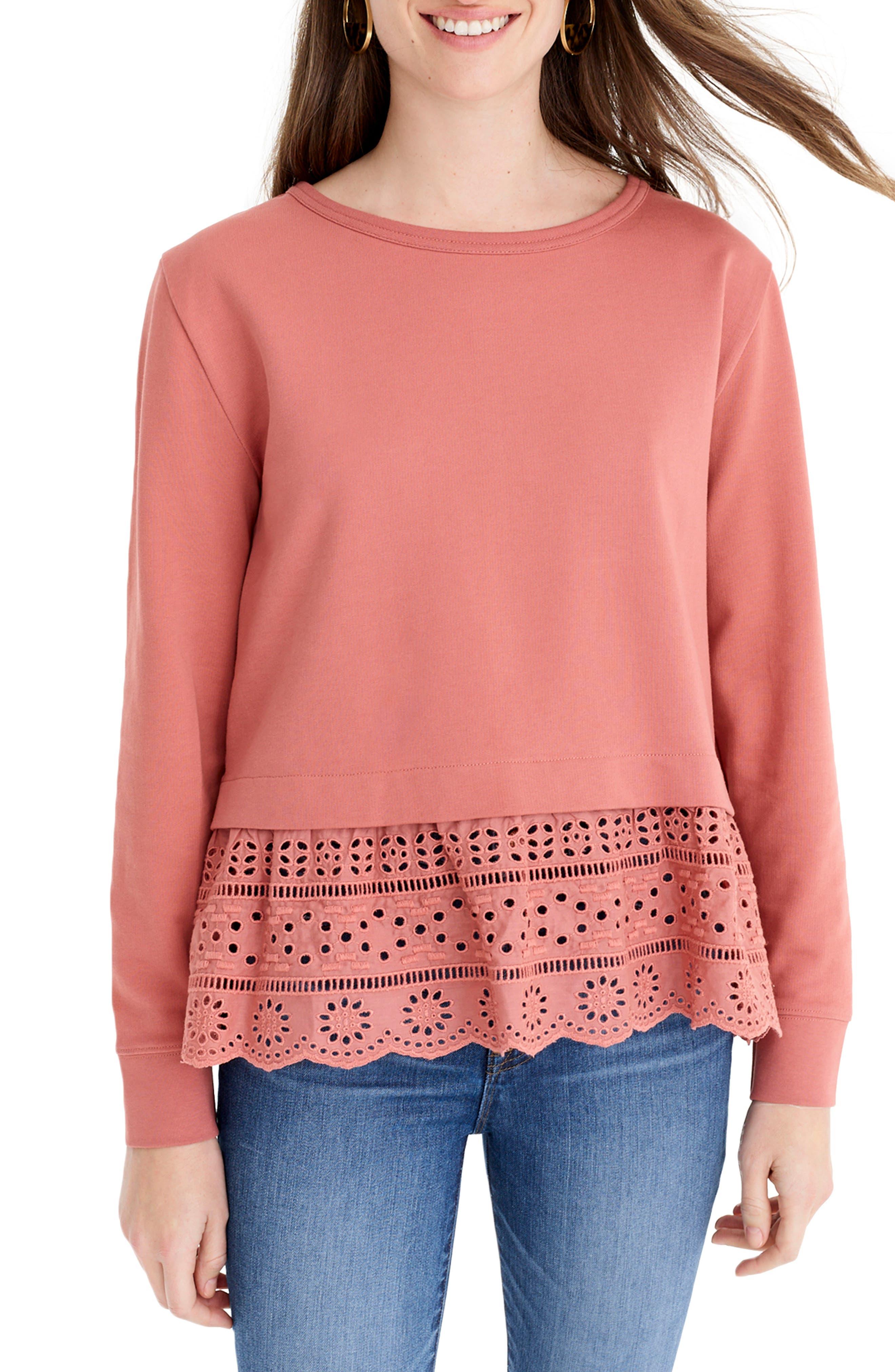 Plus Size J.crew Eyelet Hem Sweatshirt, Size - Red