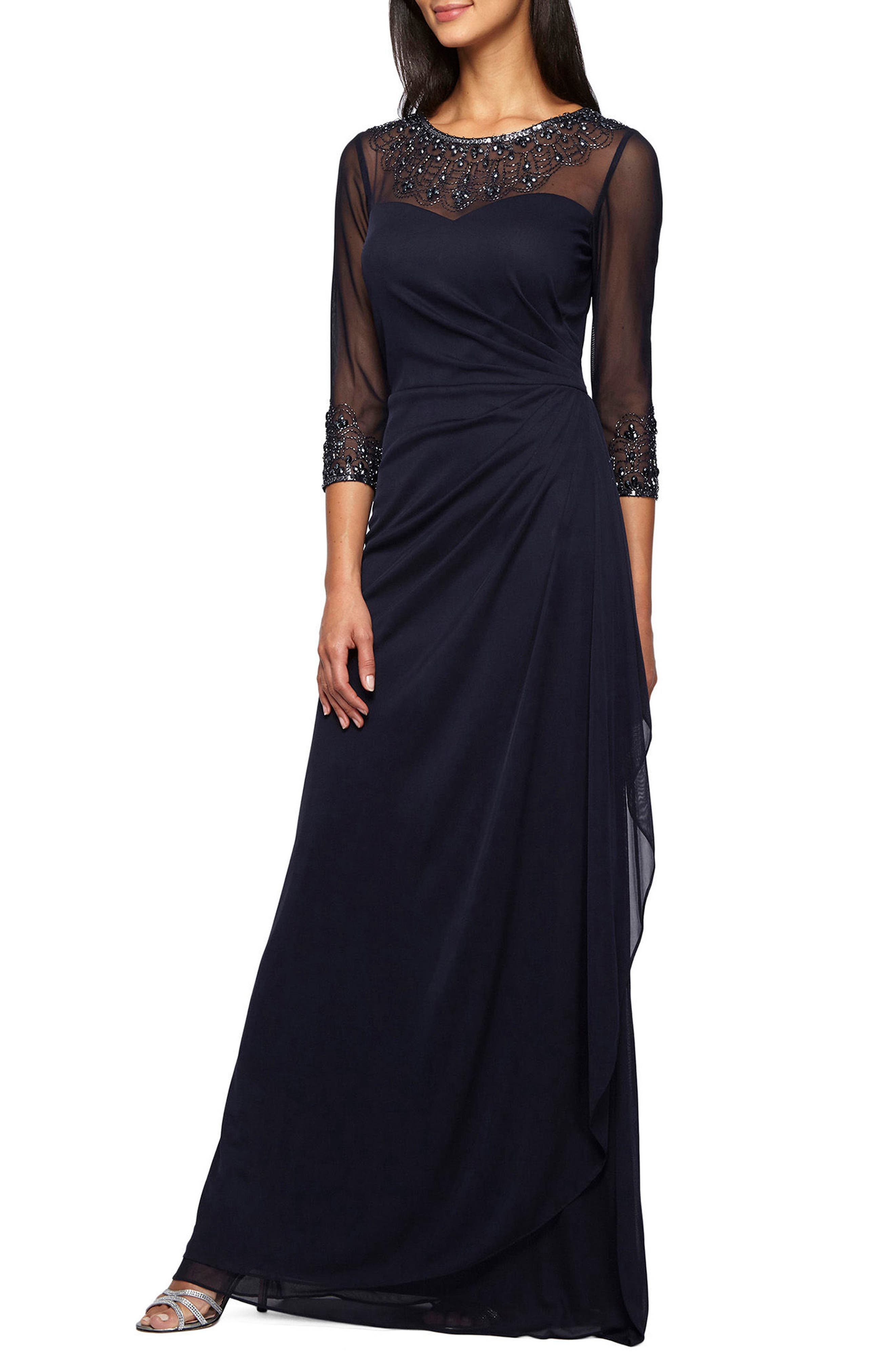 Embellished A-Line Gown,                         Main,                         color, DARK NAVY