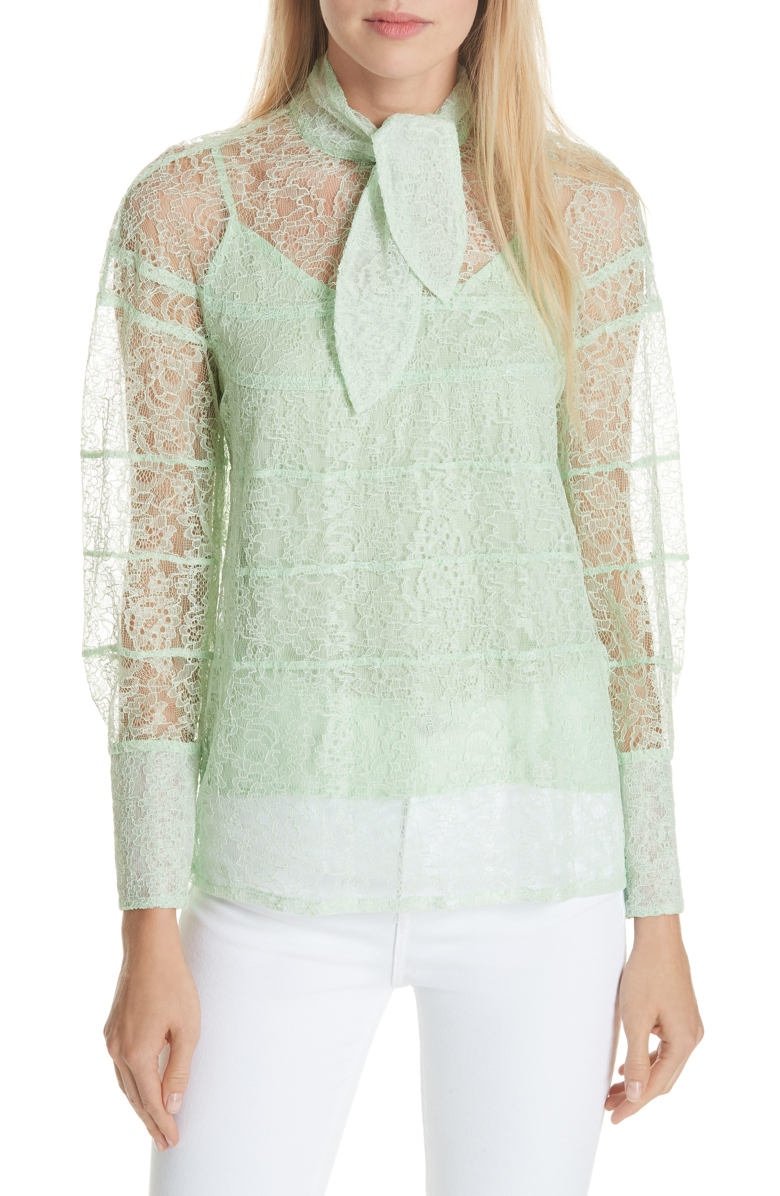 Tie Neck Lace Blouse,                             Main thumbnail 1, color,                             GREEN