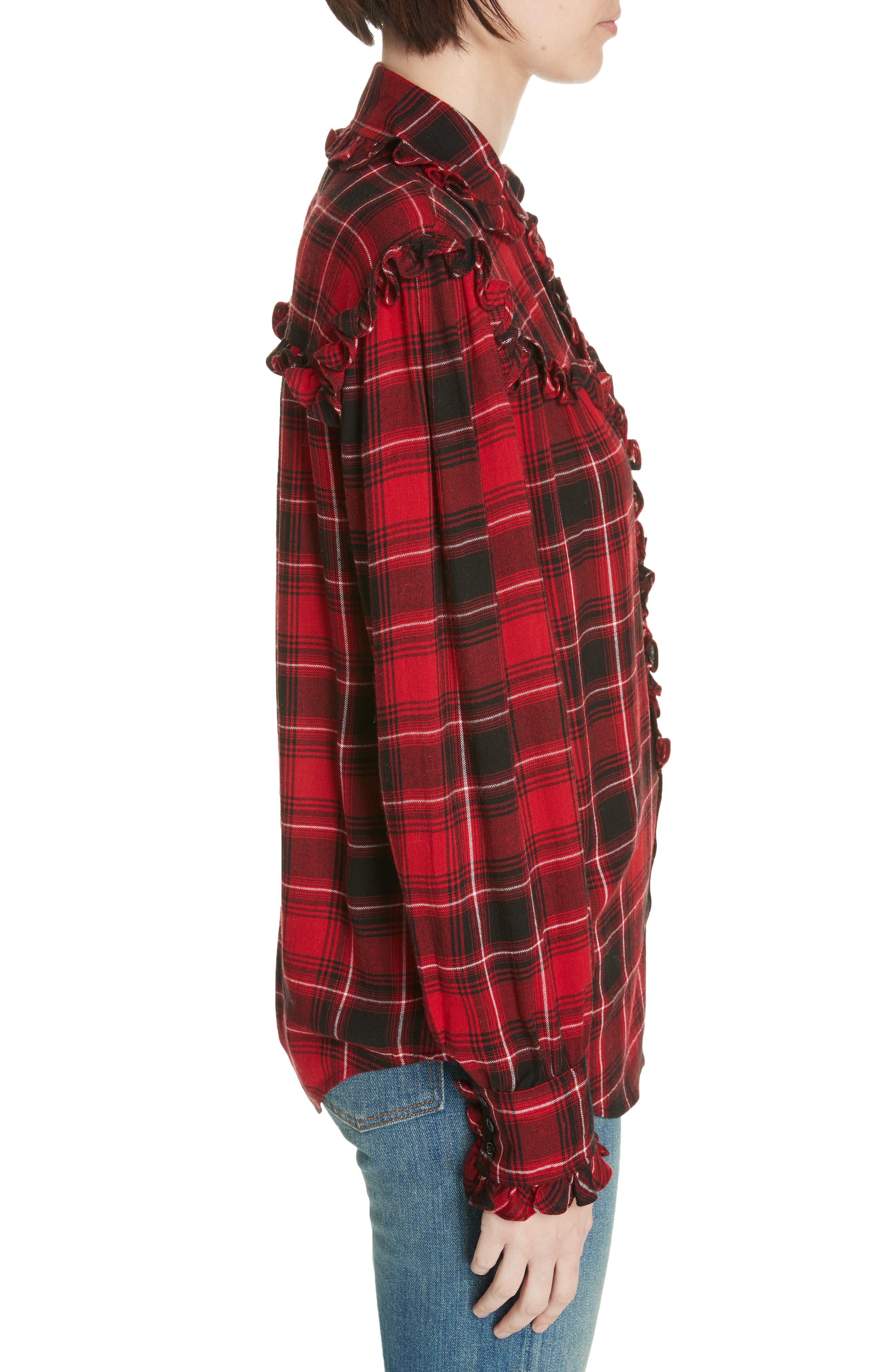 Ruffle Plaid Shirt,                             Alternate thumbnail 3, color,                             RED/ BLACK