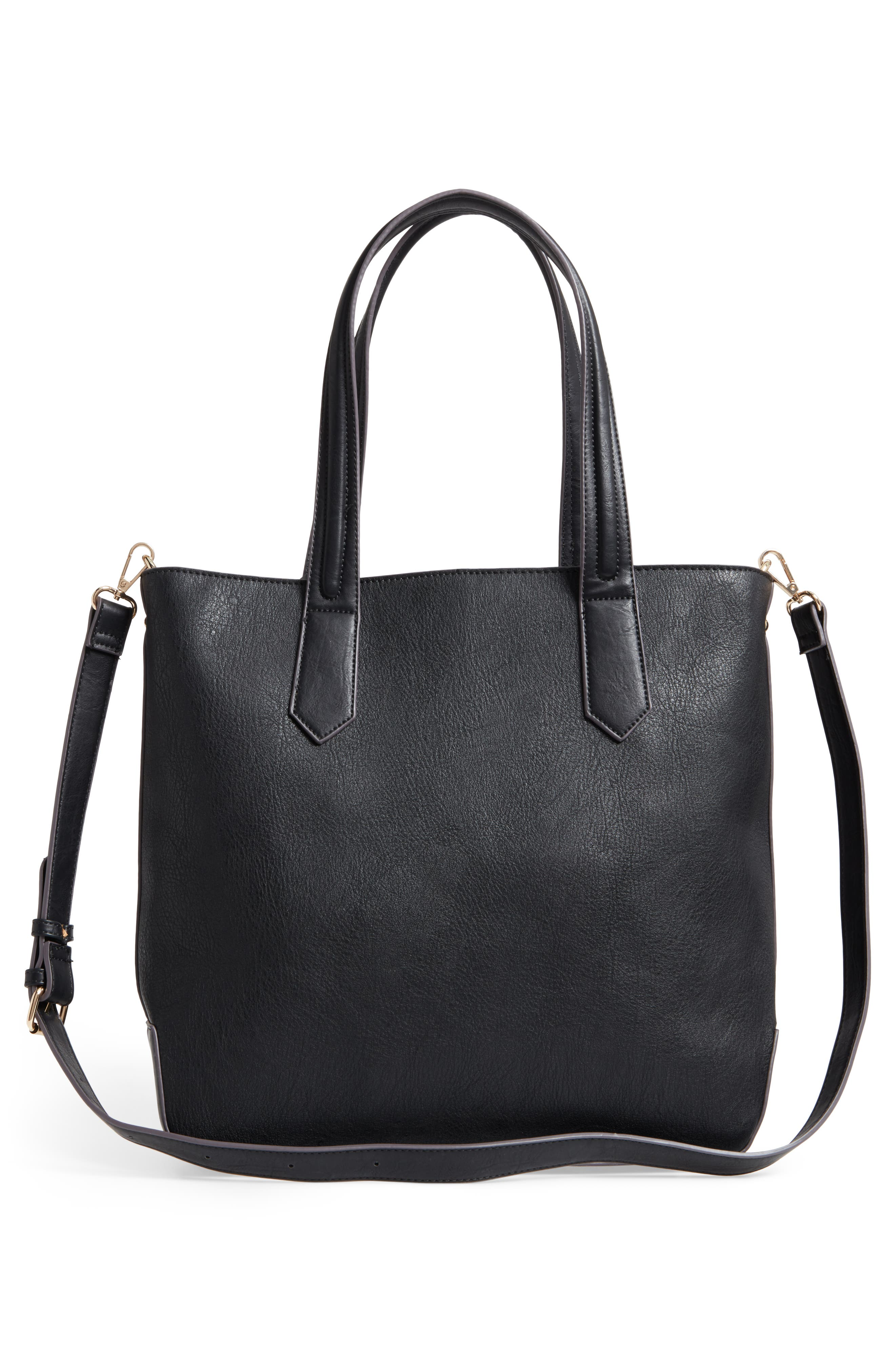 Faux Leather Tote,                             Alternate thumbnail 3, color,                             001