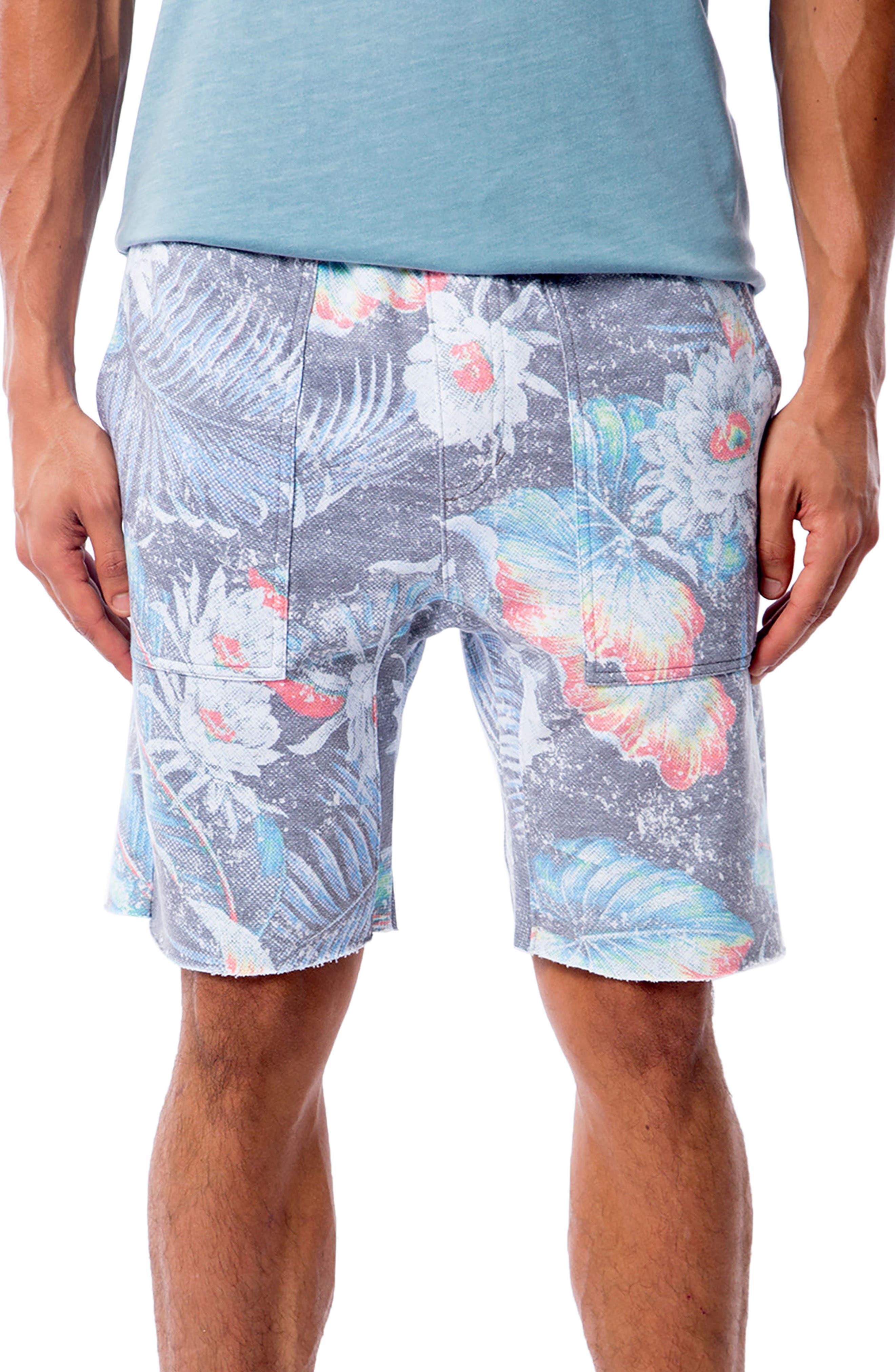 Aqua Flora Saddle Shorts,                         Main,                         color, AQUA FLORA