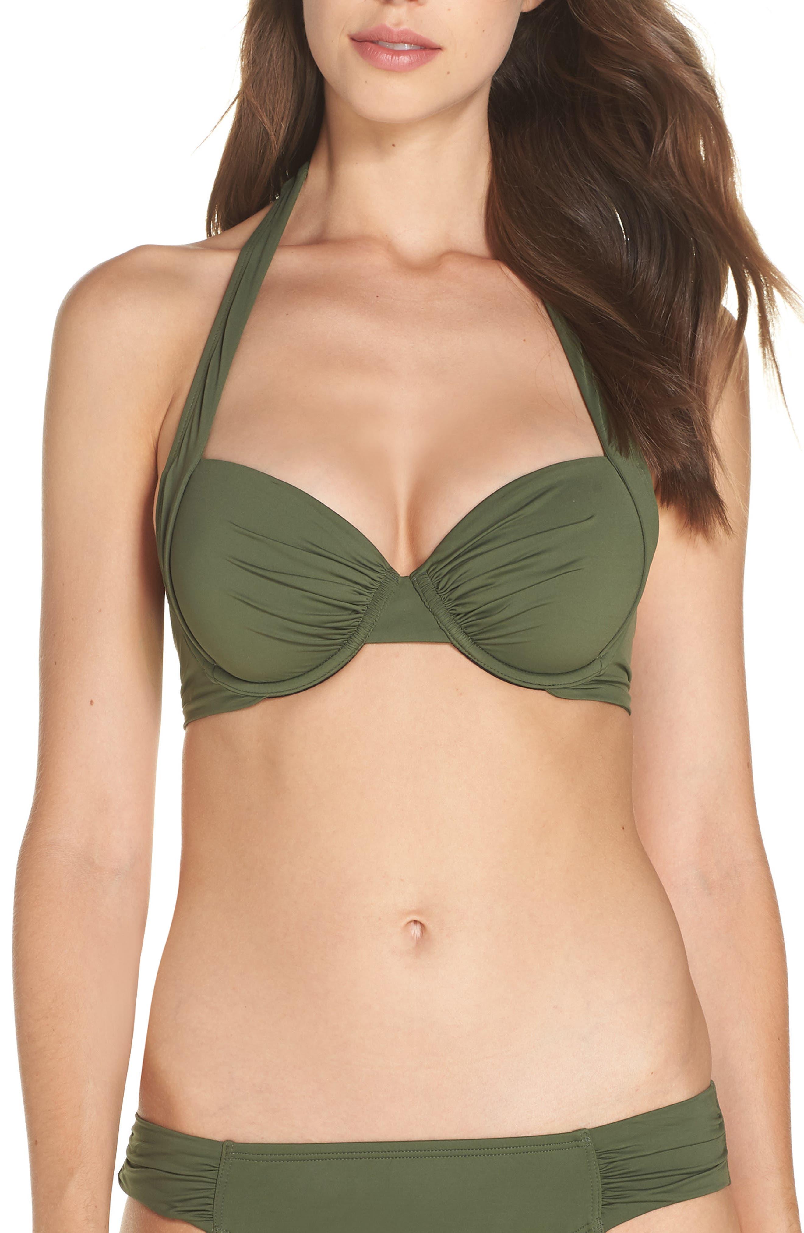 Underwire Halter Bikini Top, Main, color, DARK TEA LEAF