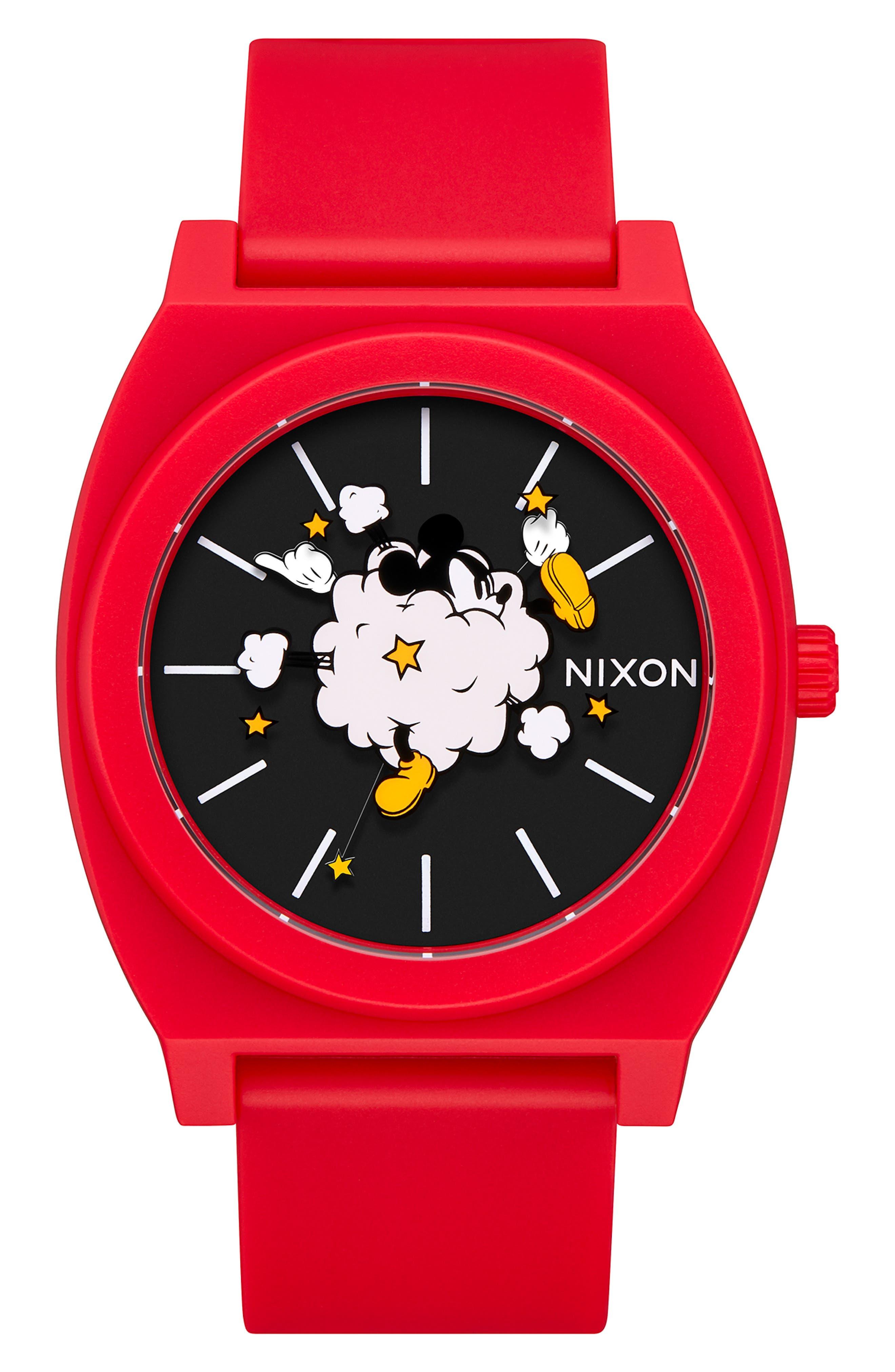NIXON,                             x Disney Time Teller Strap Watch, 40mm,                             Main thumbnail 1, color,                             RED/ BLACK/ RED