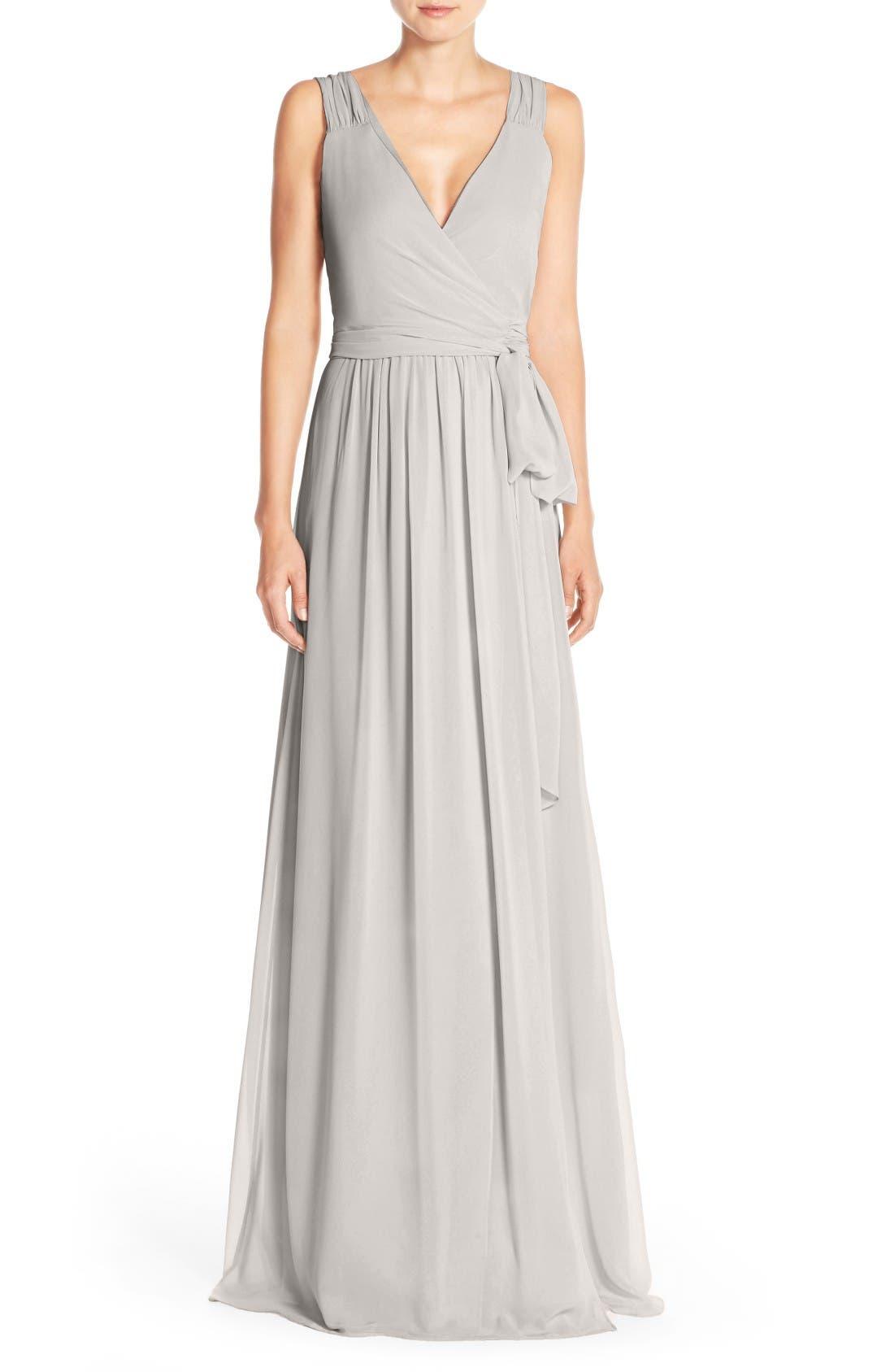 Newbury Gathered Sleeve Chiffon Wrap Gown,                         Main,                         color, 022