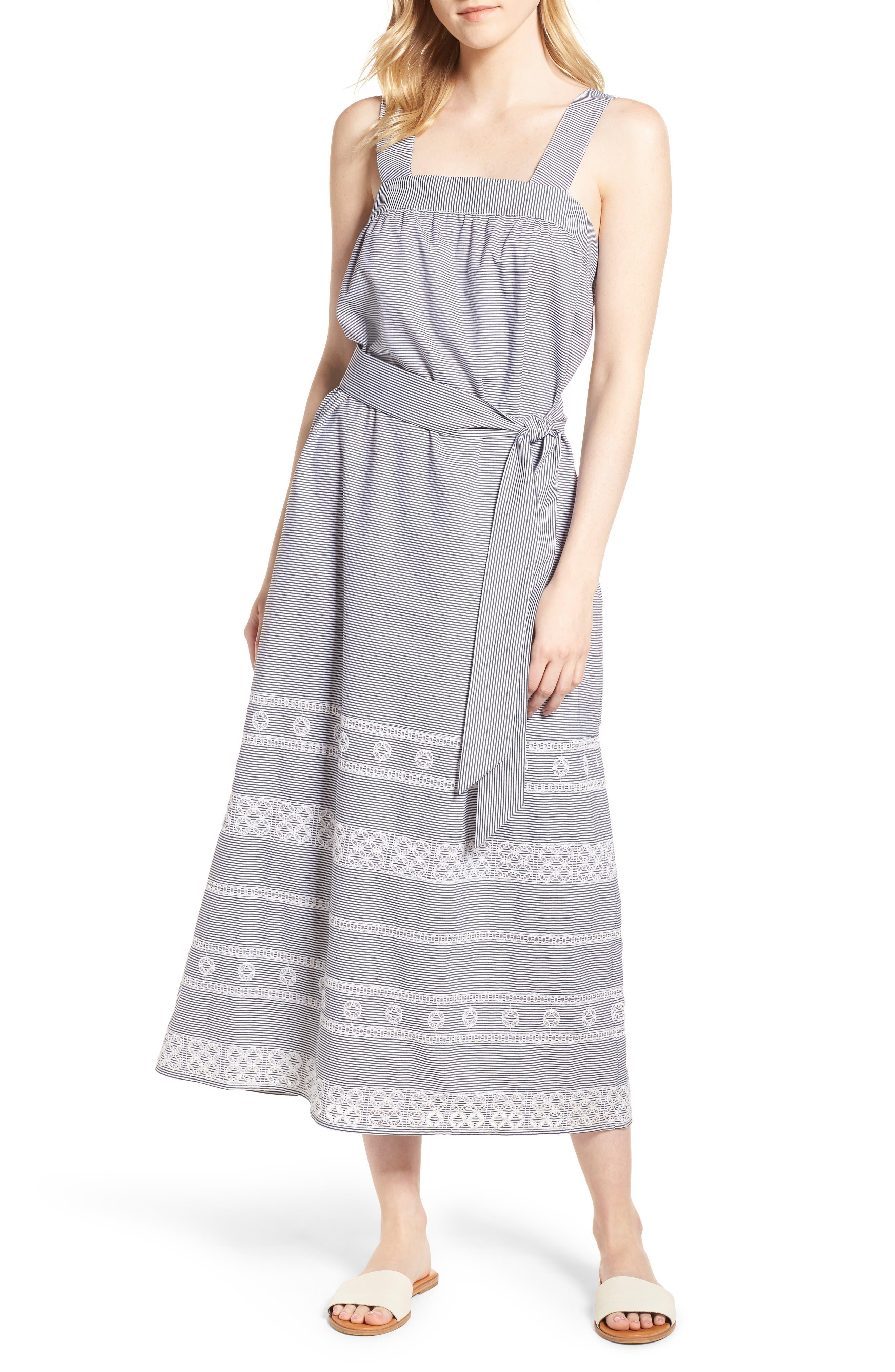 Striped Maxi Dress,                             Main thumbnail 1, color,                             002