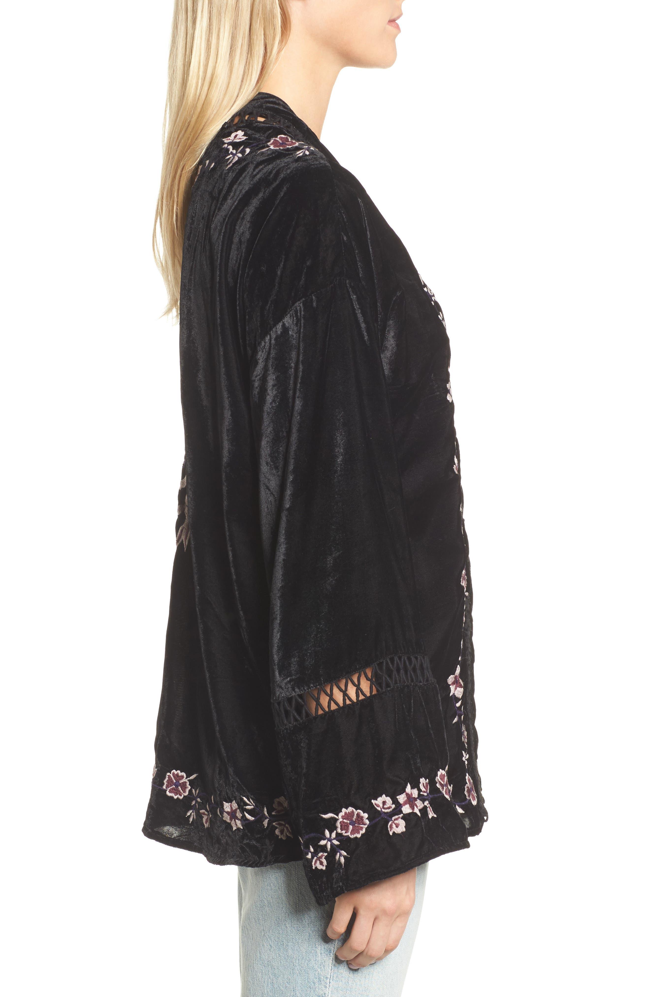 Embroidered Velvet Jacket,                             Alternate thumbnail 3, color,