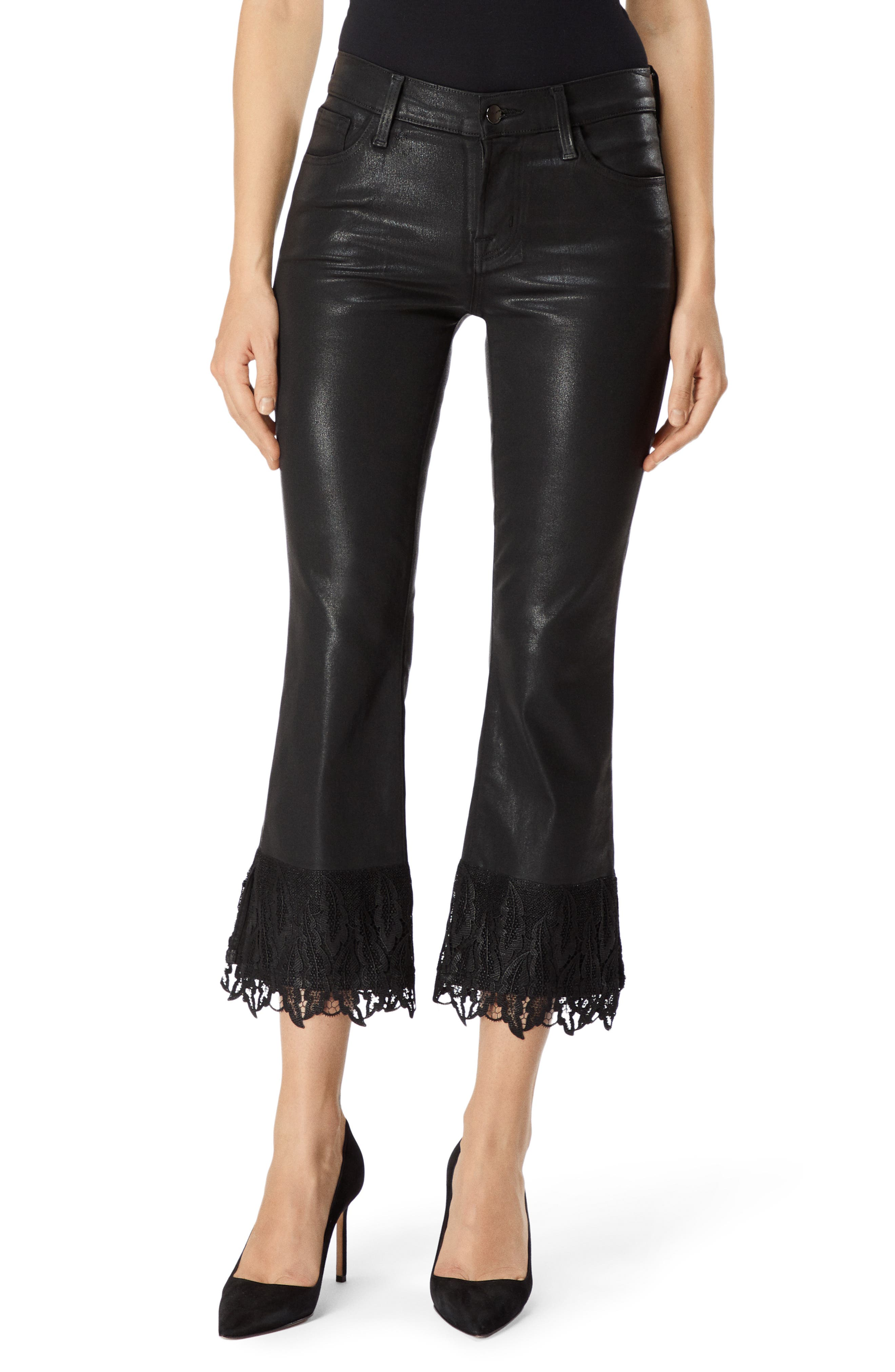 Selena Lace-Detail Crop Bootcut Jeans In Black Out