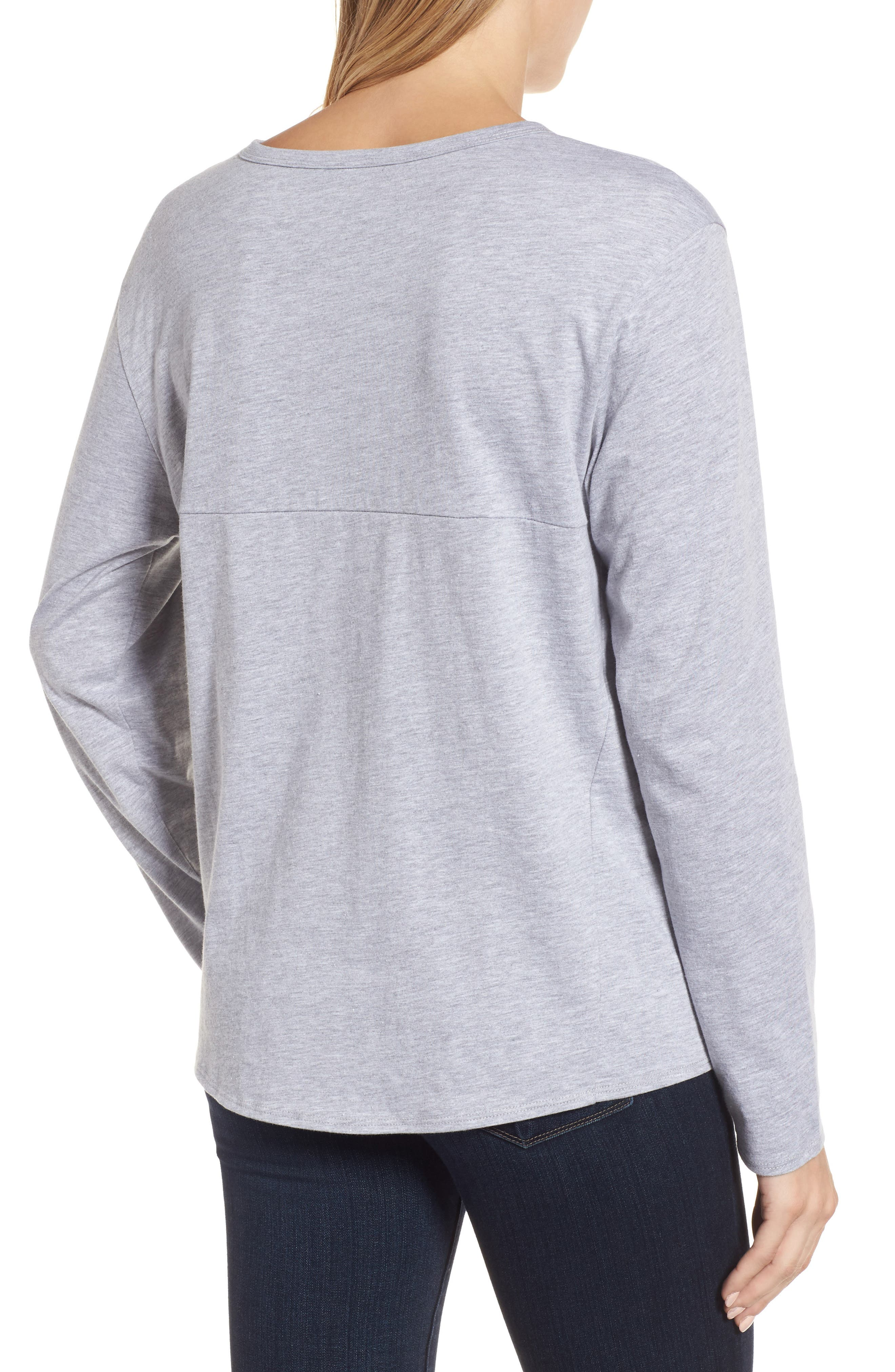 Long Sleeve Side Tie Tee,                             Alternate thumbnail 9, color,