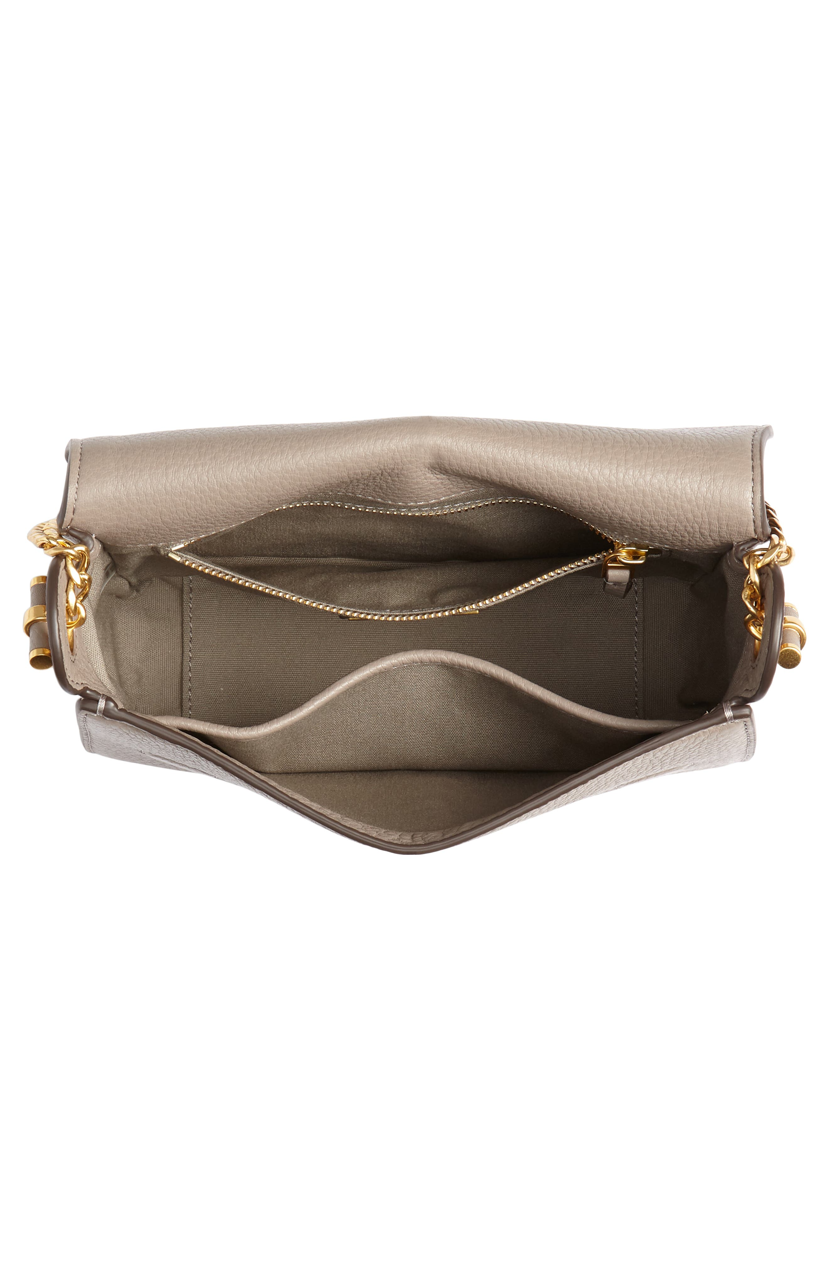 Chelsea Leather Crossbody Bag,                             Alternate thumbnail 4, color,                             GRAY HERON