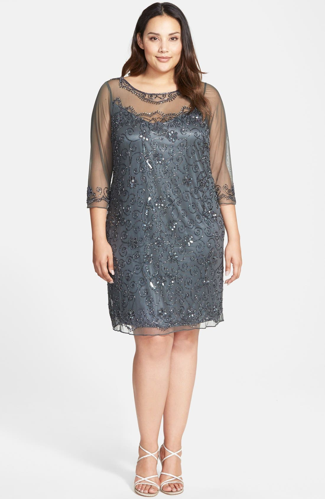 Illusion Neck Beaded Shift Dress,                         Main,                         color, 020