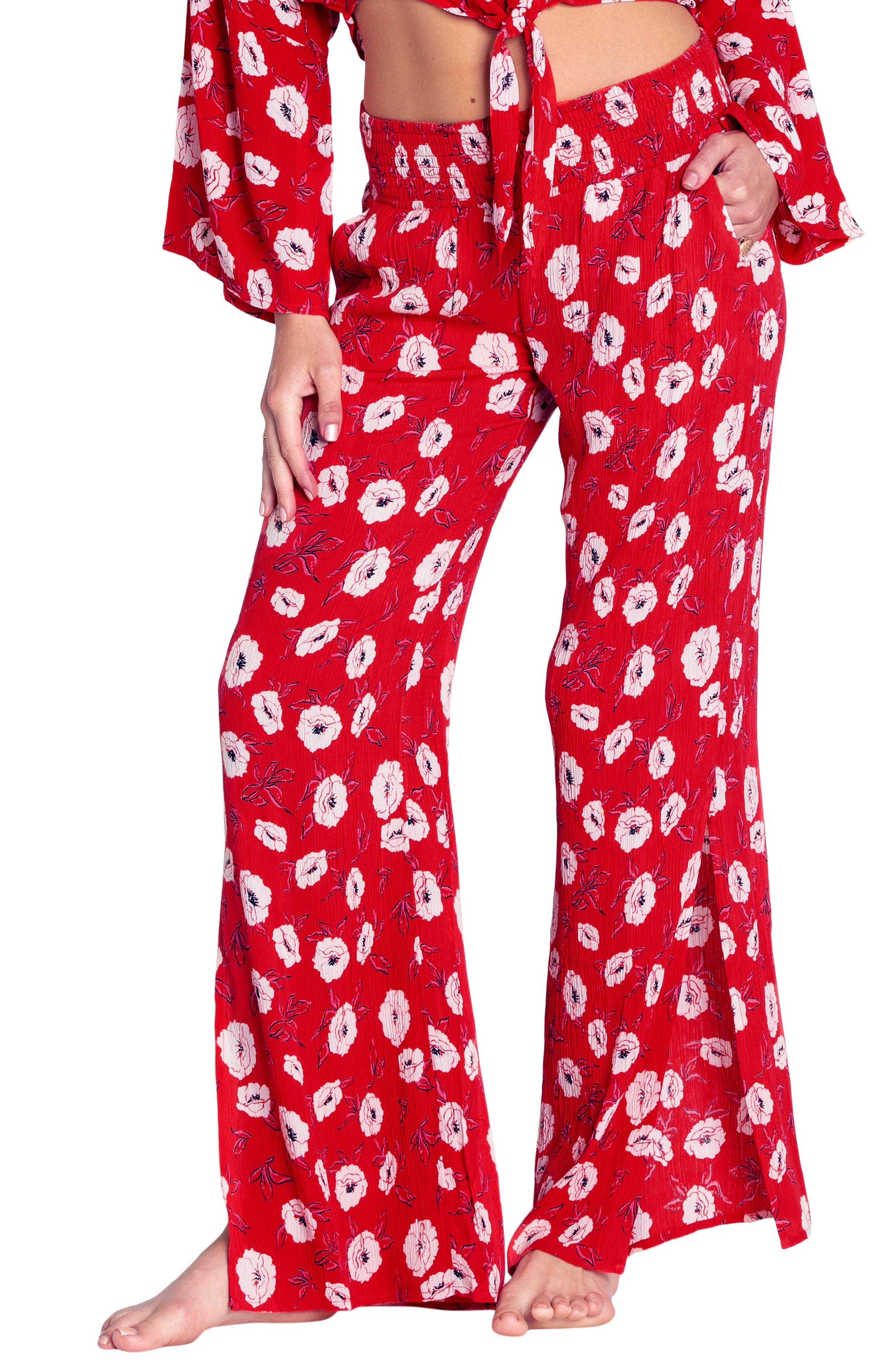 Need You Floral Print Pants, Main, color, SUNSET RED