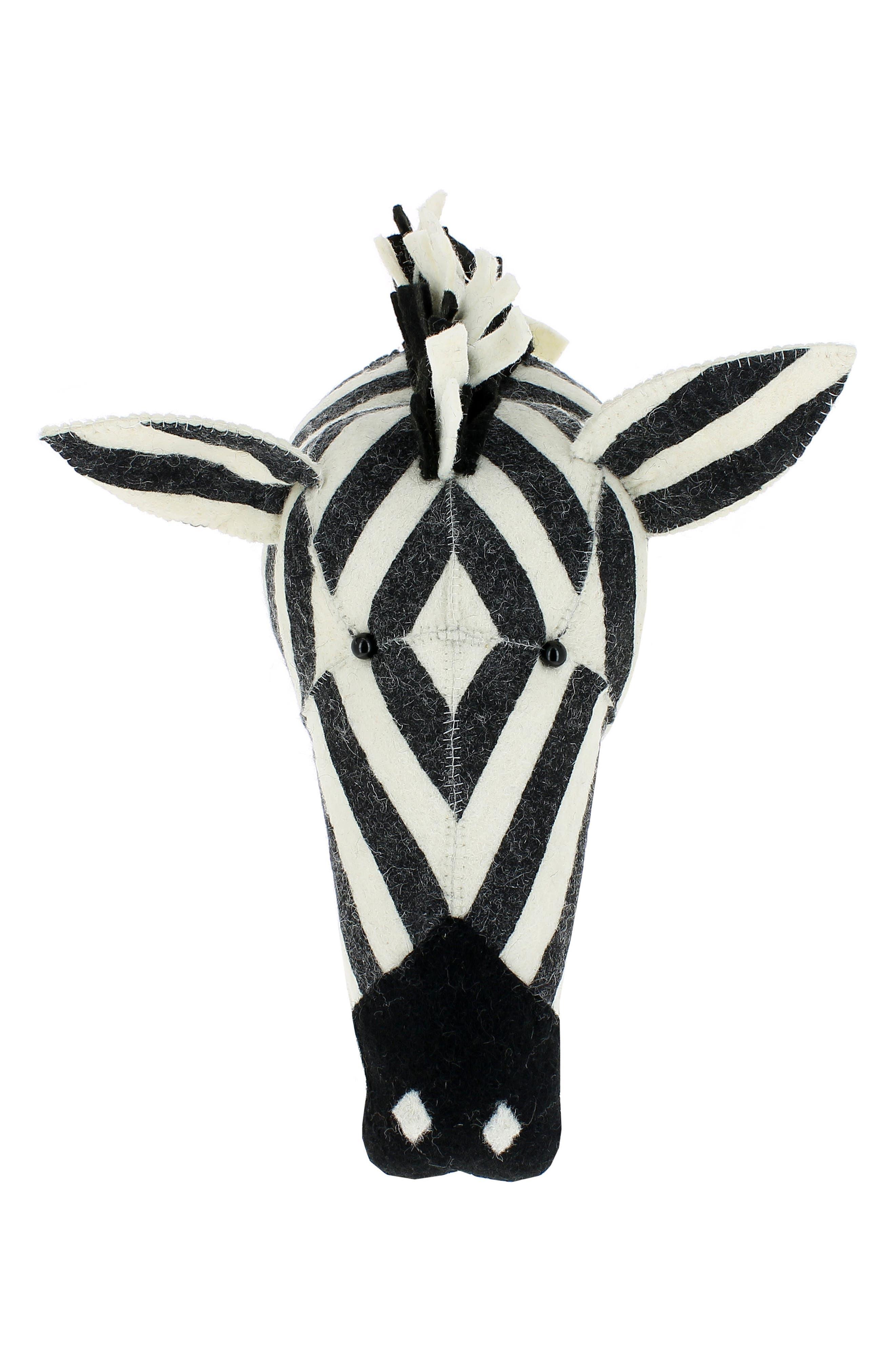 Stripe Zebra Head Wall Art,                             Main thumbnail 1, color,                             WHITE