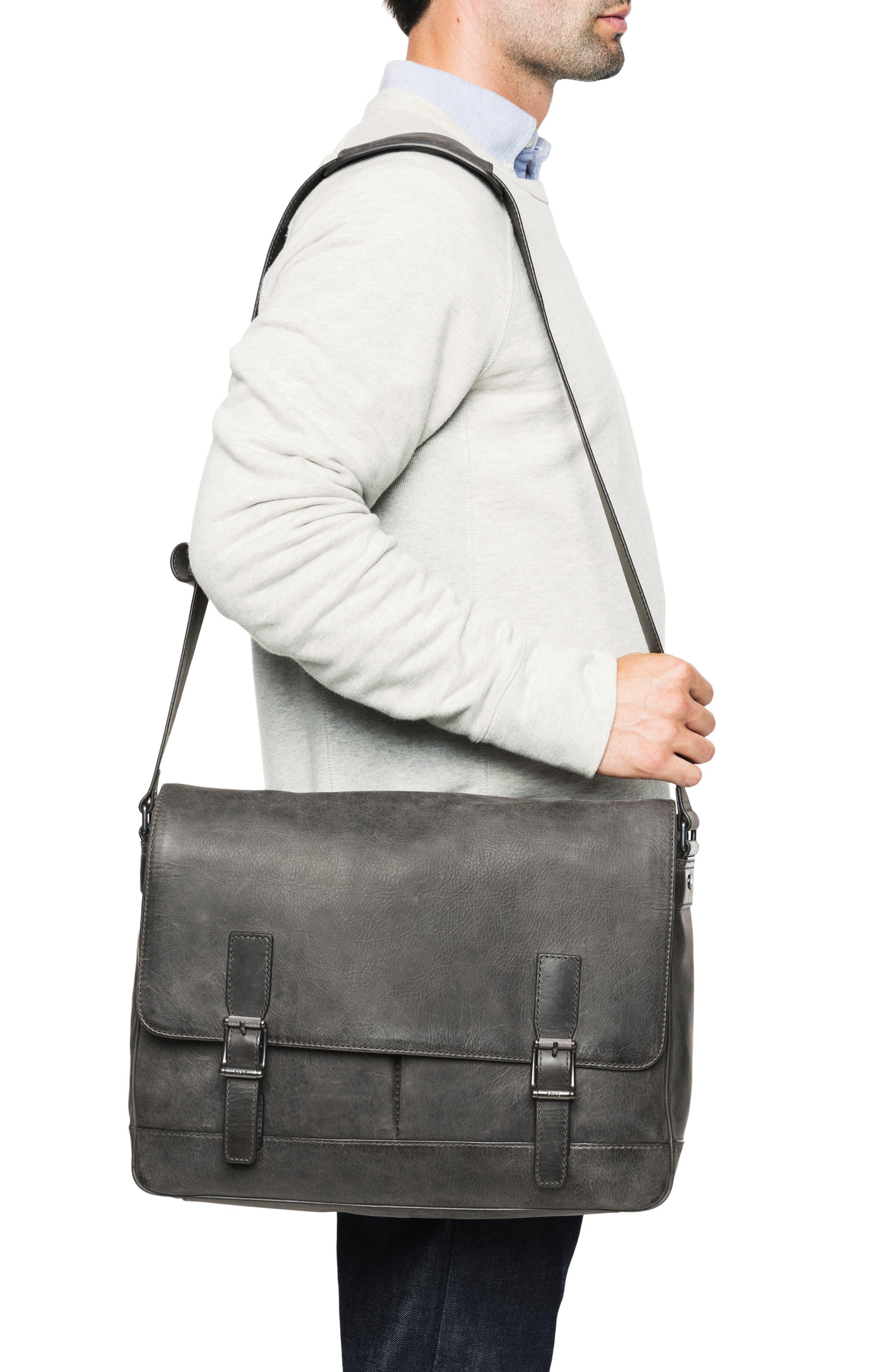 Oliver Leather Messenger Bag,                             Alternate thumbnail 2, color,                             SLATE