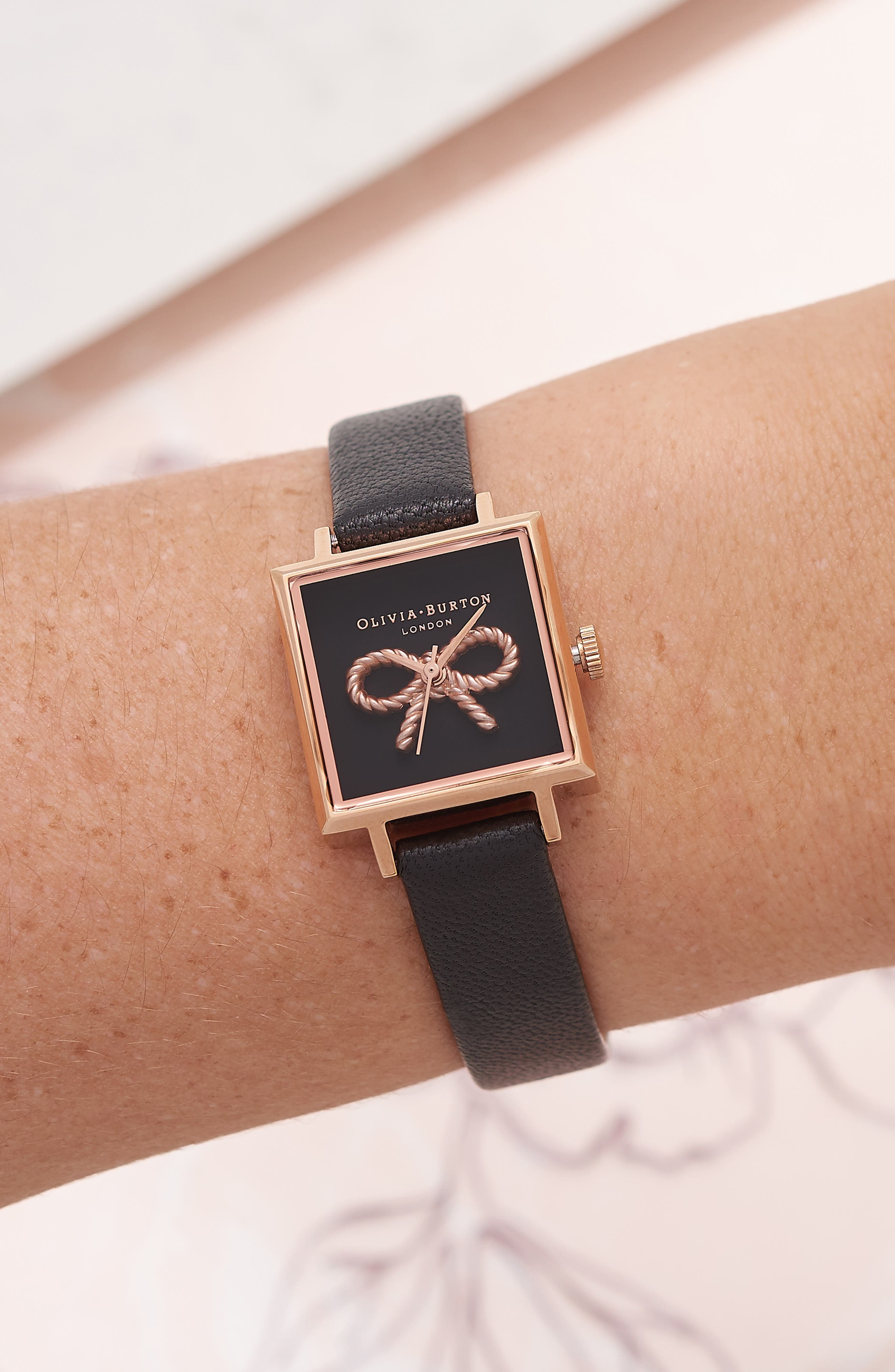 Vintage Bow Square Leather Strap Watch, 30mm,                             Alternate thumbnail 2, color,                             001