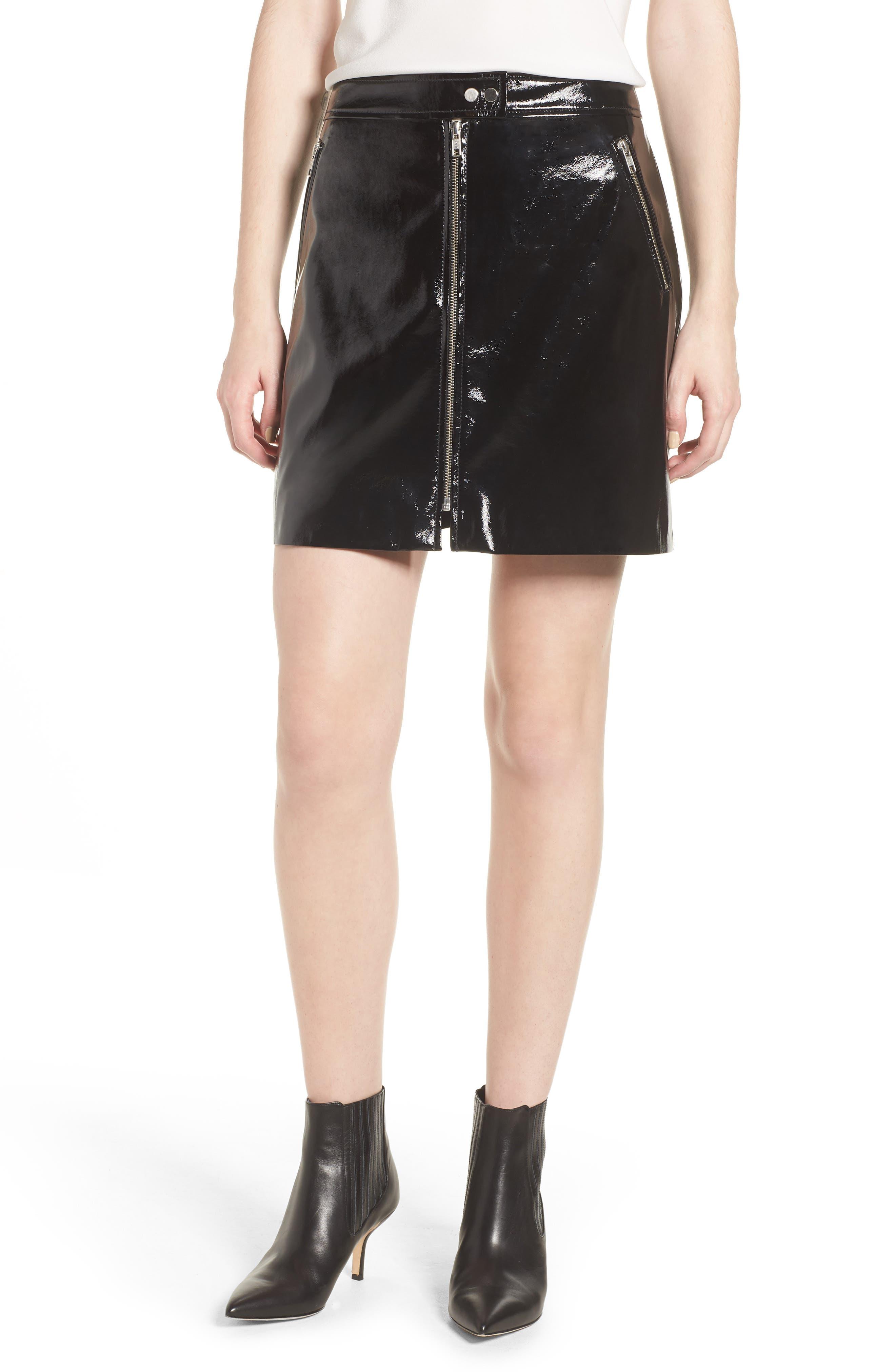Patent Miniskirt,                             Main thumbnail 1, color,                             001