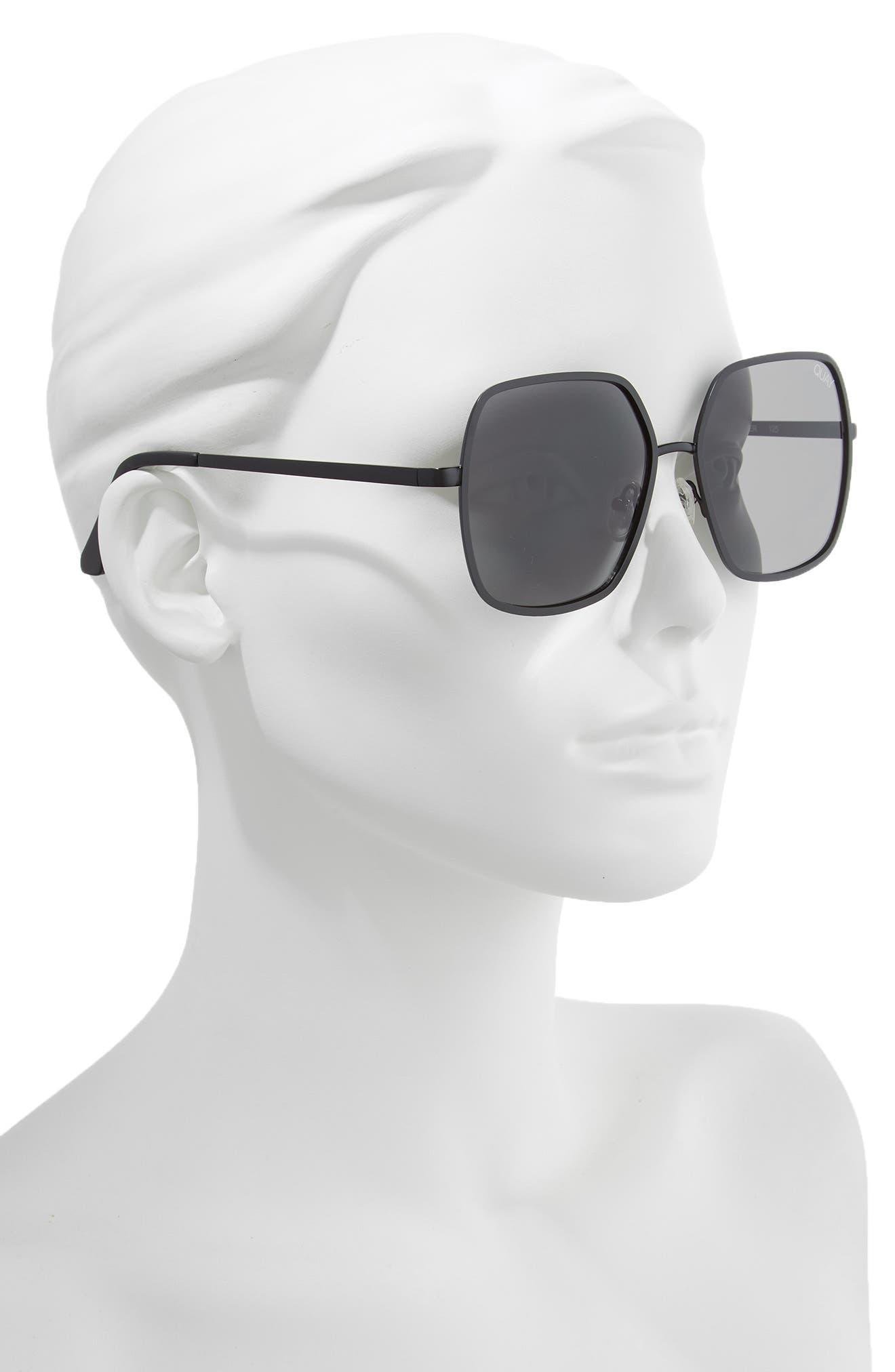 57mm Square Sunglasses,                             Alternate thumbnail 2, color,                             BLACK/ SMOKE