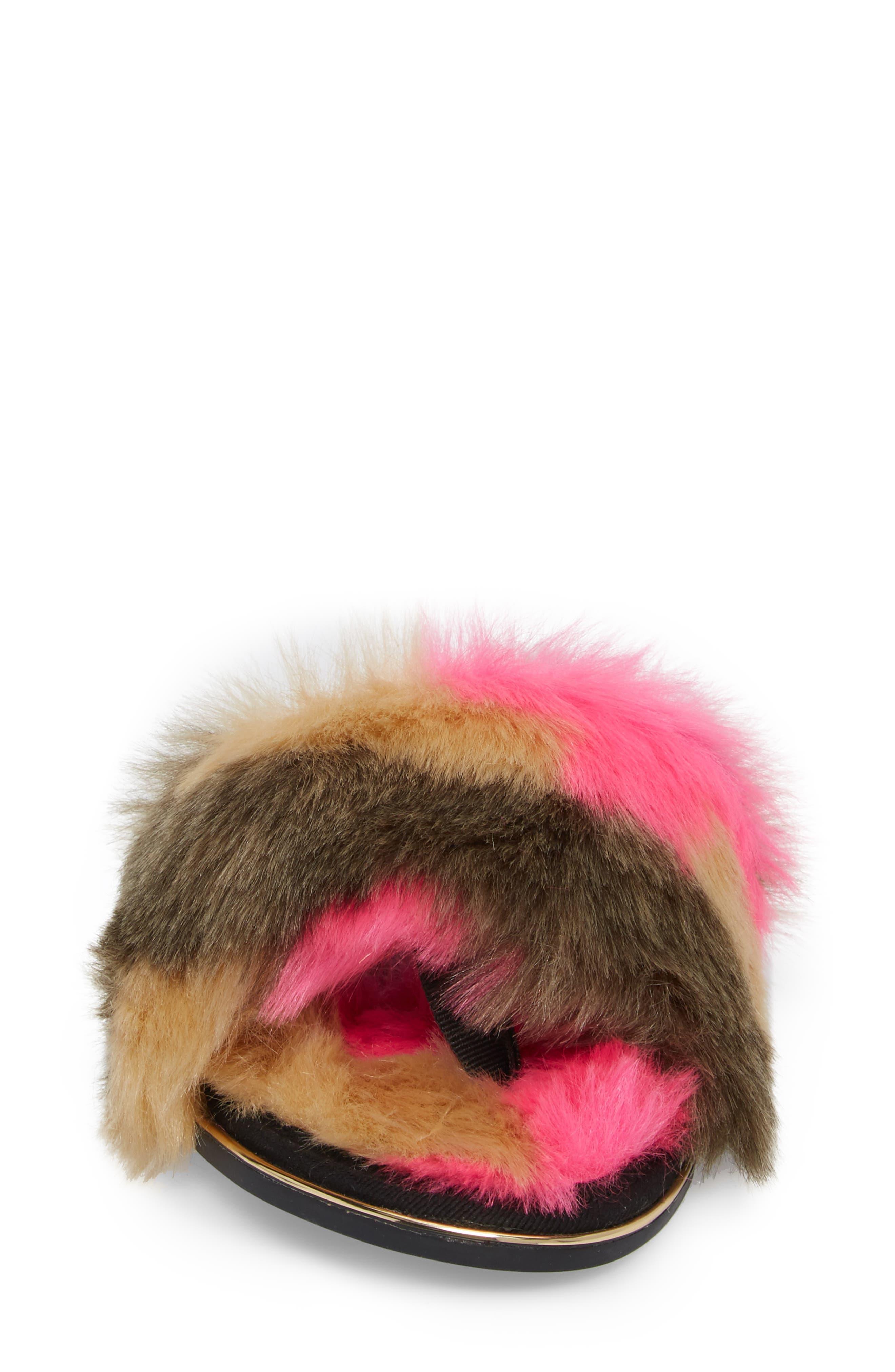 YOSI SAMRA,                             Rose Faux Fur Slide Sandal,                             Alternate thumbnail 4, color,                             030