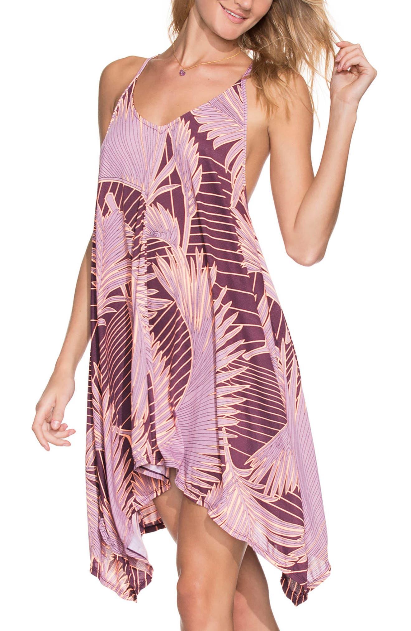 Brilliant Cactus Cover-Up Dress in Burgundy Multi