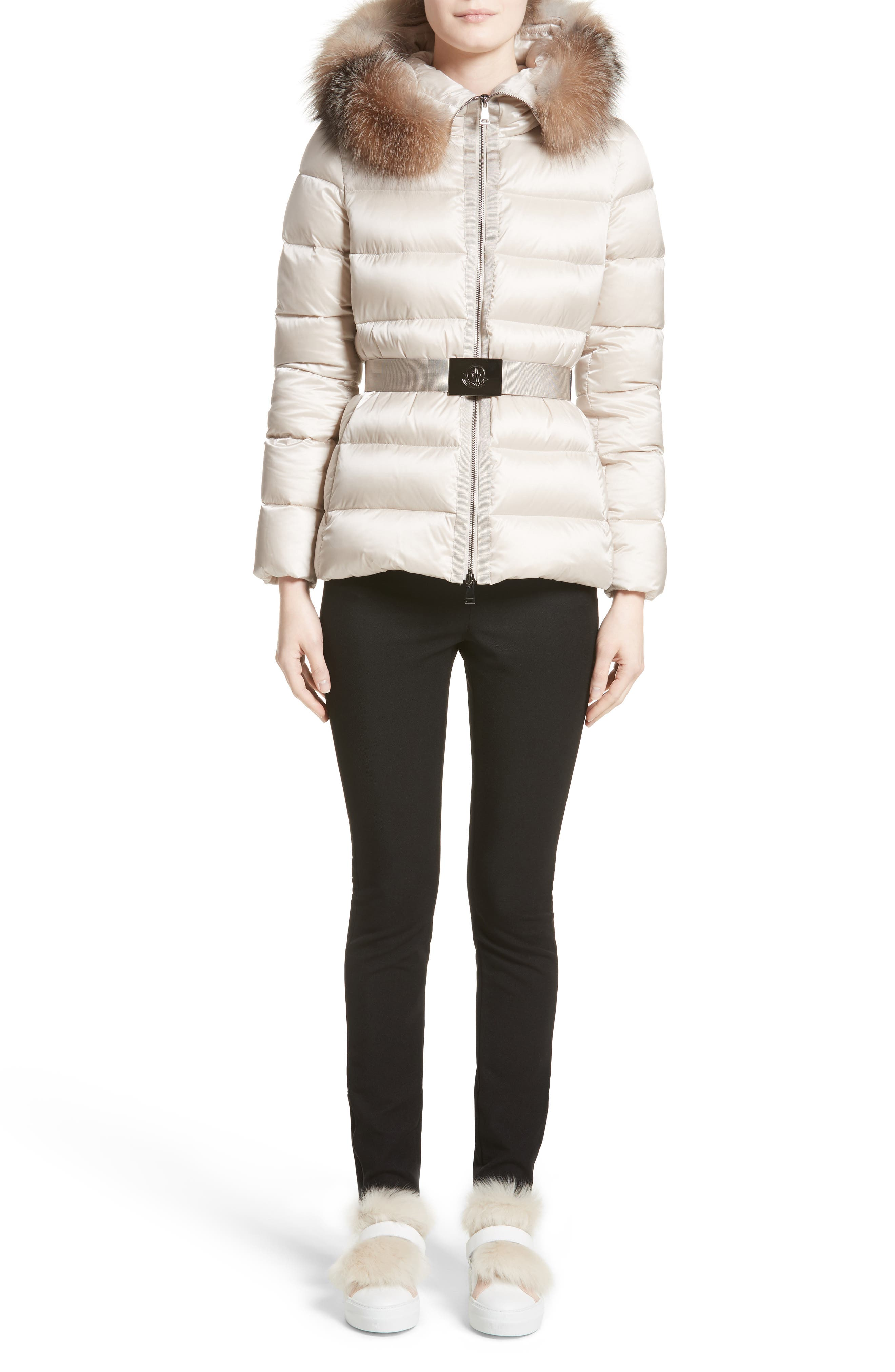 Tatie Belted Down Puffer Coat with Removable Genuine Fox Fur Trim,                             Alternate thumbnail 7, color,                             CHAMPAGNE