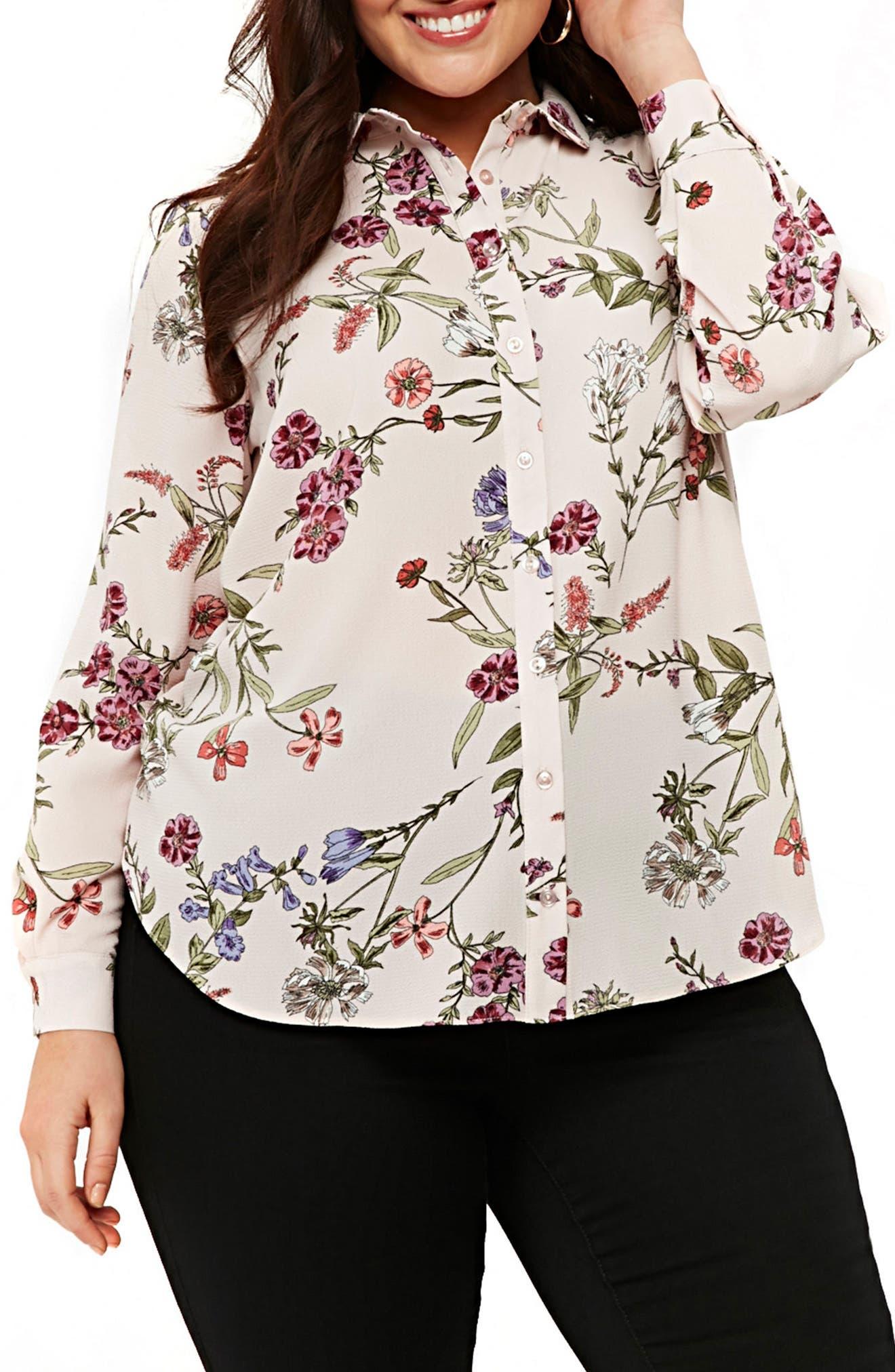 Blush Floral Print Shirt,                             Main thumbnail 1, color,                             DARK MULTI