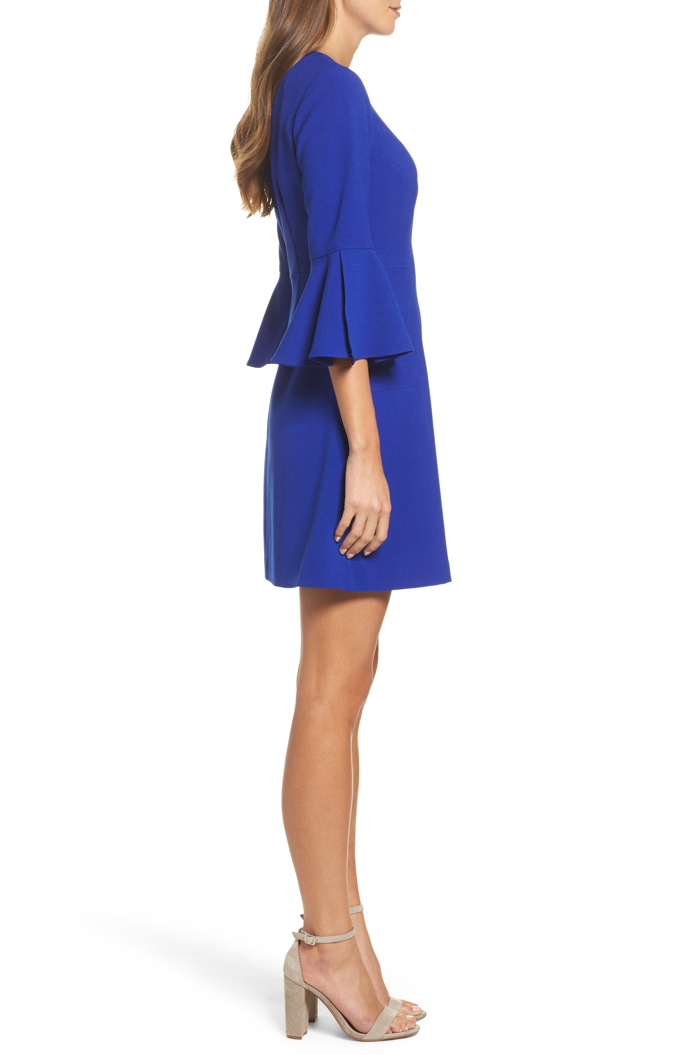 Bell Sleeve Dress,                             Alternate thumbnail 3, color,                             430