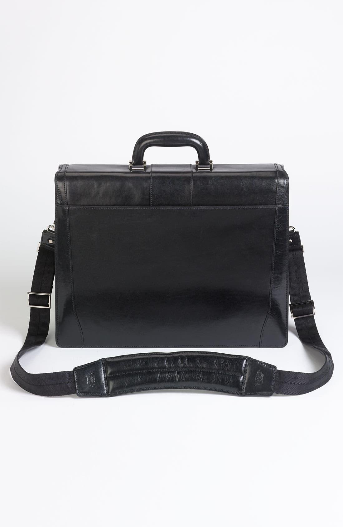 Double Gusset Briefcase,                             Alternate thumbnail 3, color,                             BLACK