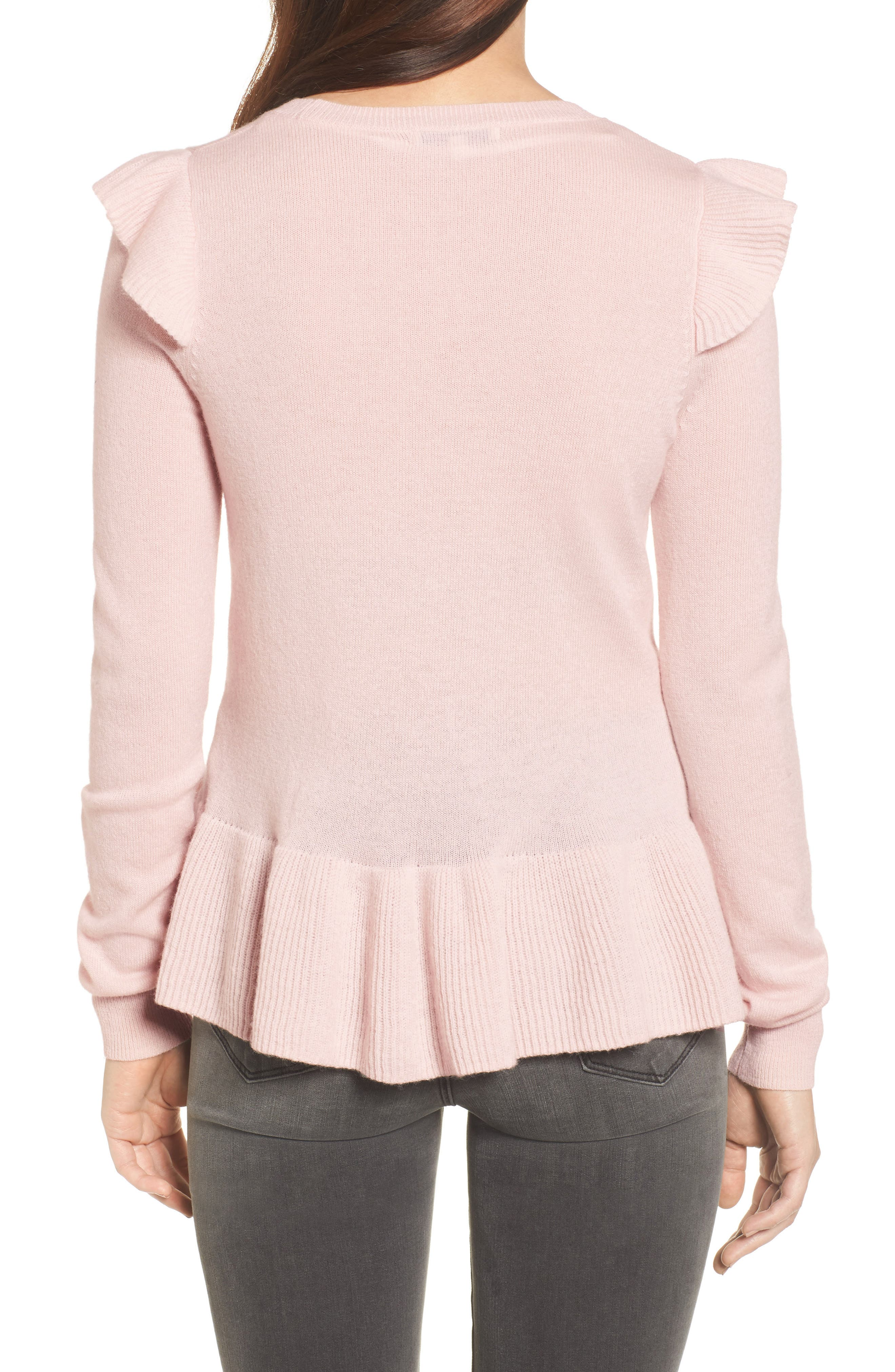 Regina Ruffle Wool & Cashmere Sweater,                             Alternate thumbnail 4, color,
