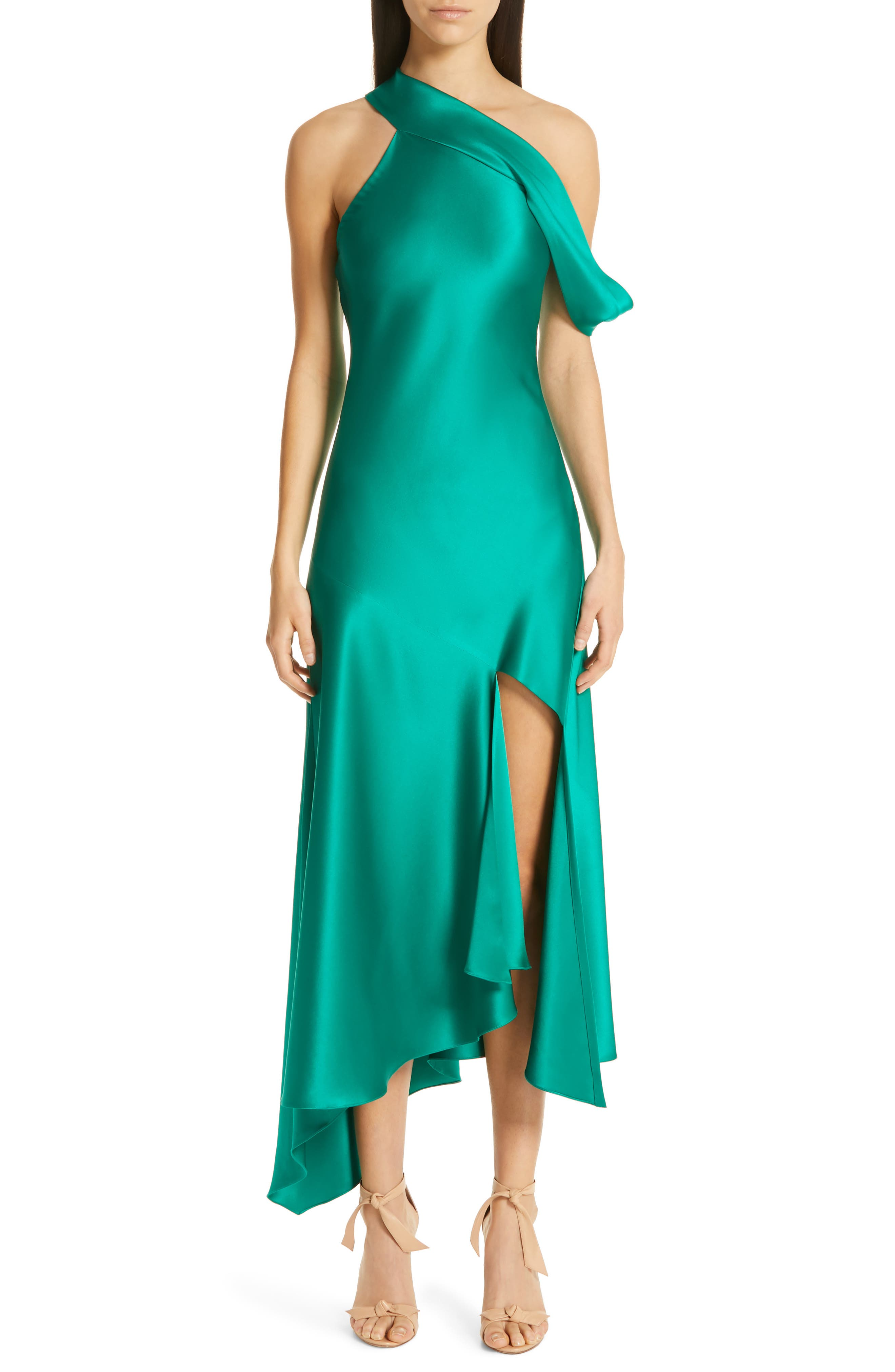 One Shoulder Silk Slip Dress by Cushnie