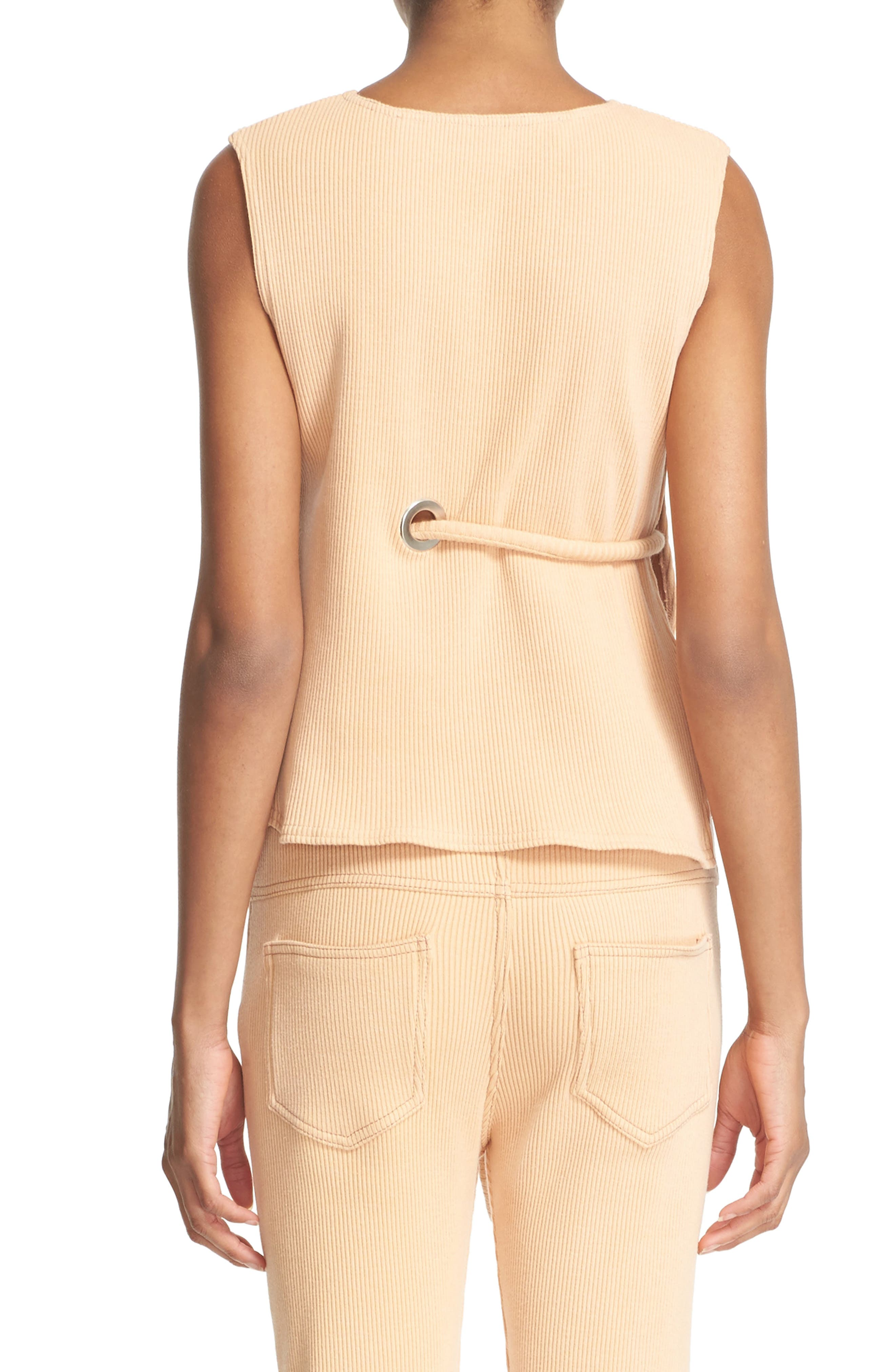 Sleeveless Ribbed Stretch Cotton Top,                             Alternate thumbnail 3, color,                             950