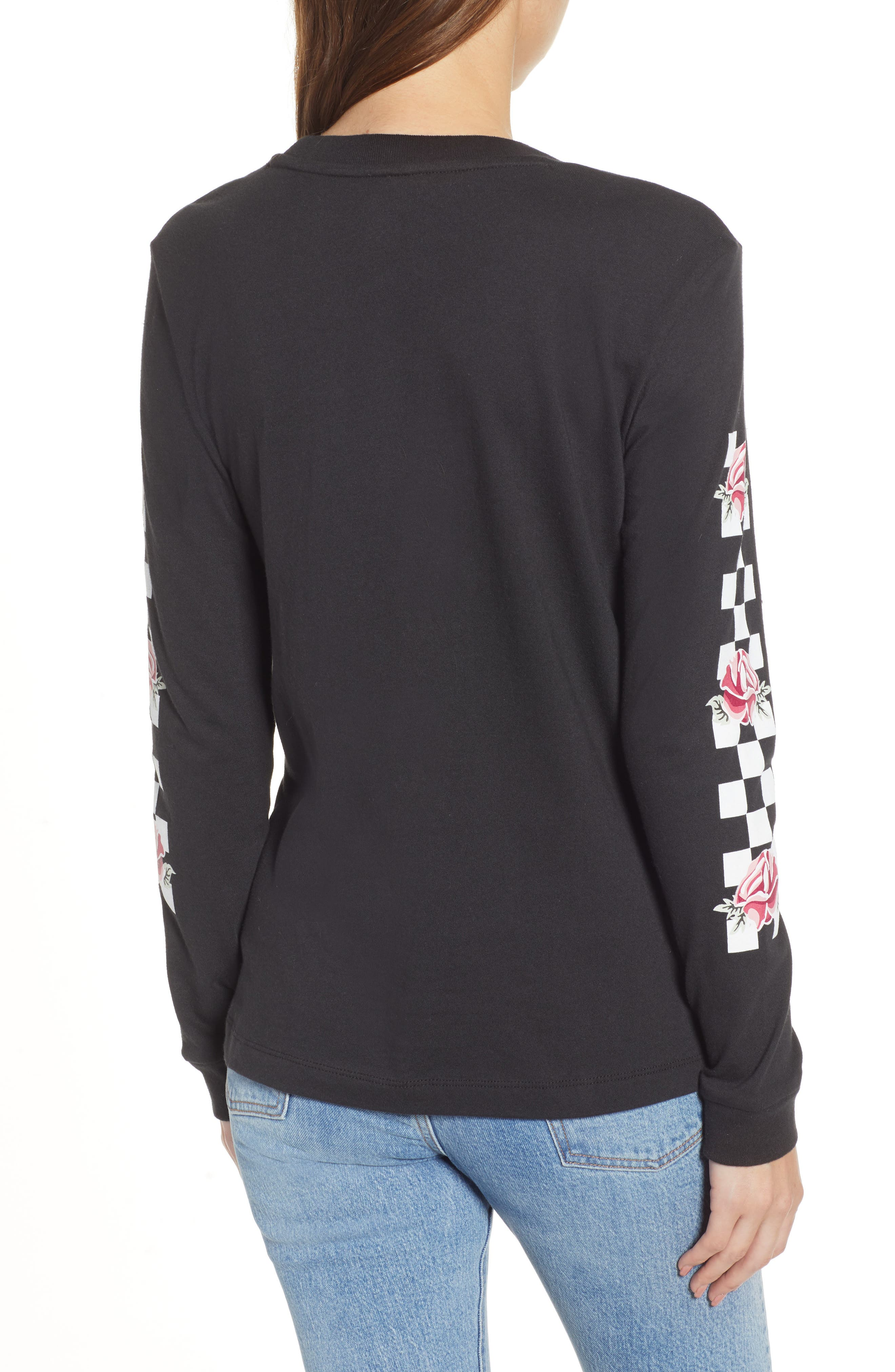 Floral Checkerboard Print Tee,                             Alternate thumbnail 2, color,                             001