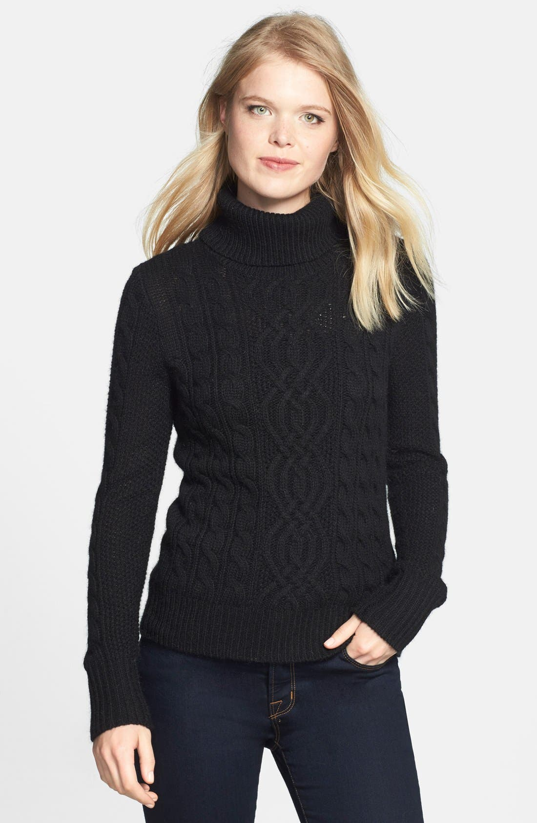 Cable Knit Turtleneck Sweater,                         Main,                         color, 001
