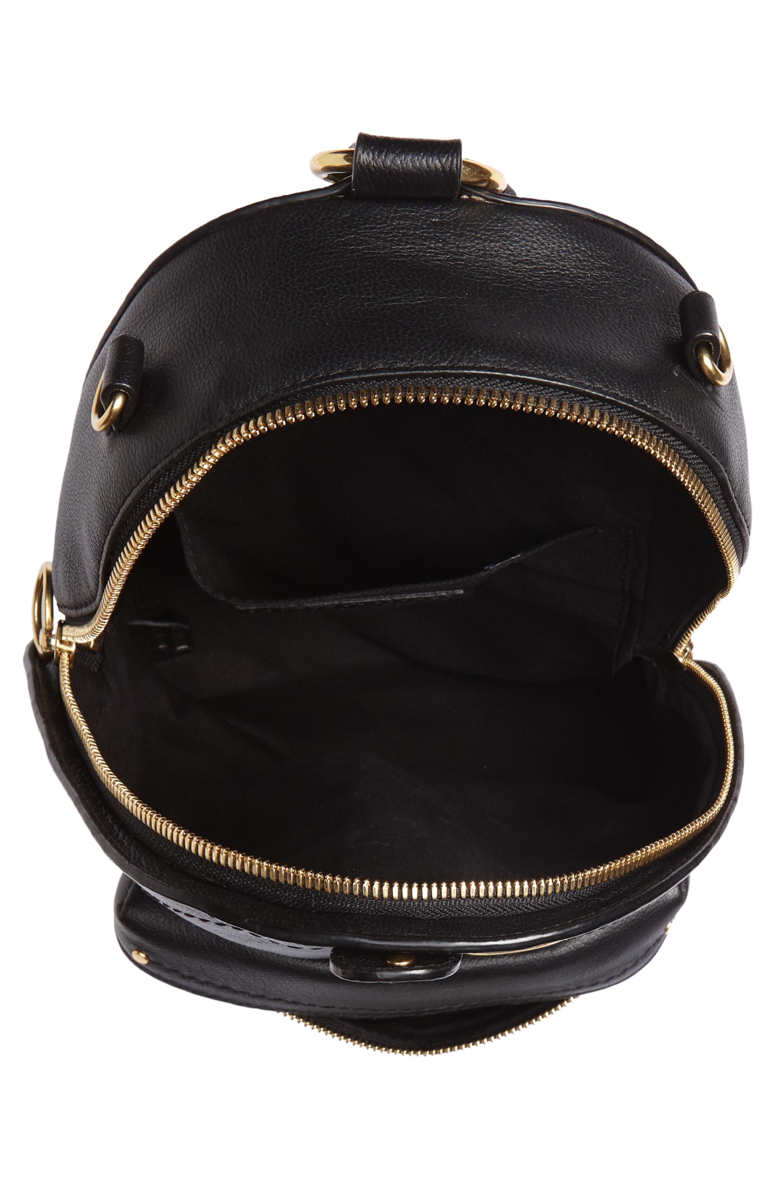 Mini Mino Leather Backpack,                             Alternate thumbnail 5, color,                             BLACK