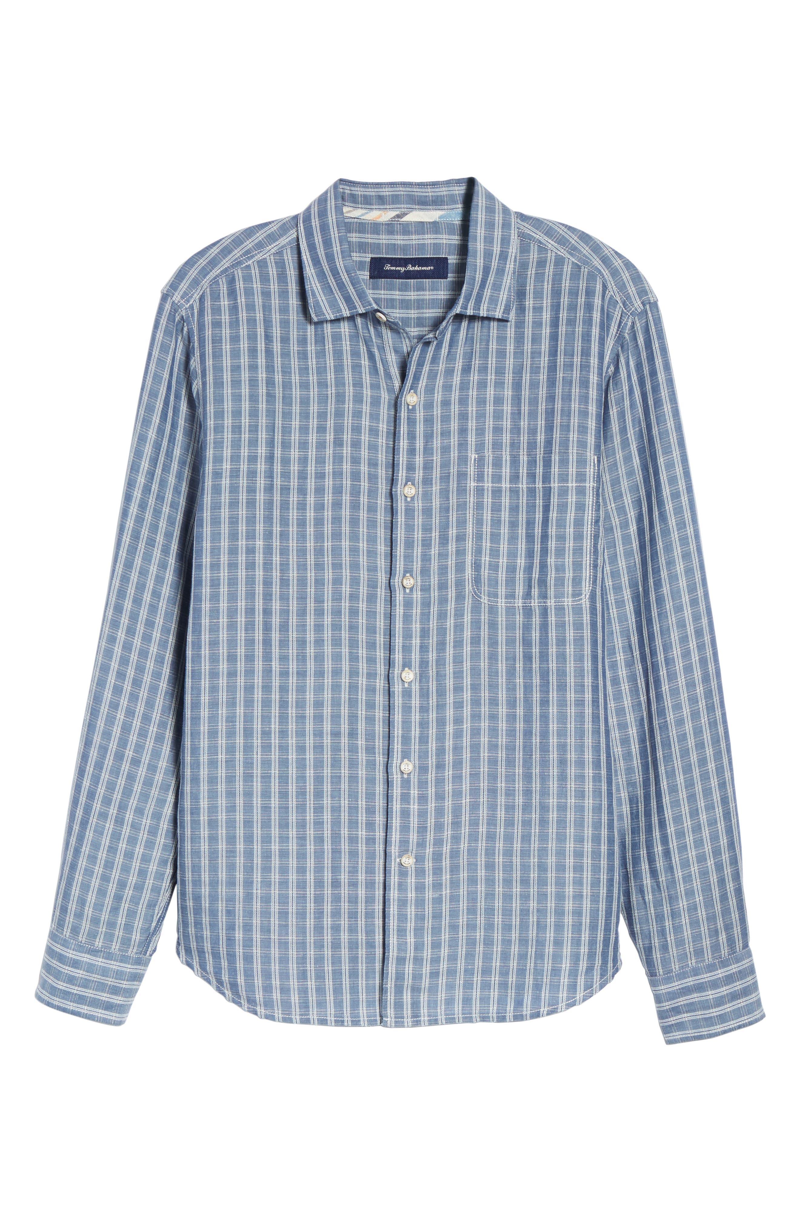 Plaid Sand Linen Blend Sport Shirt,                             Alternate thumbnail 17, color,