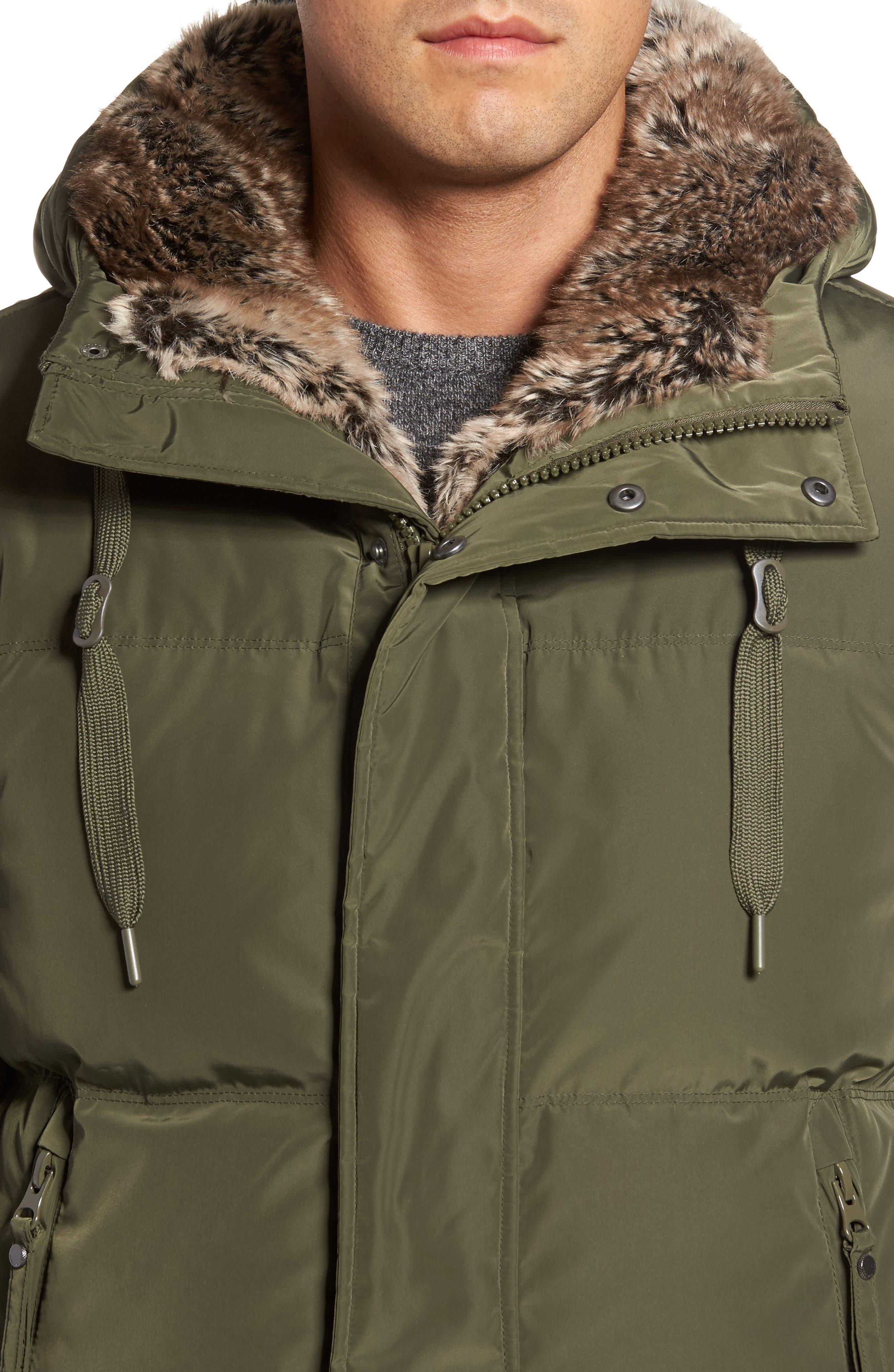 Athlone Faux Fur Down Jacket,                             Alternate thumbnail 4, color,                             313
