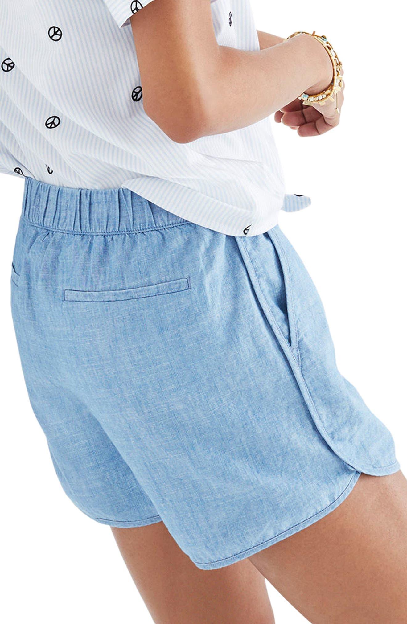 Chambray Pull-On Shorts,                             Alternate thumbnail 3, color,